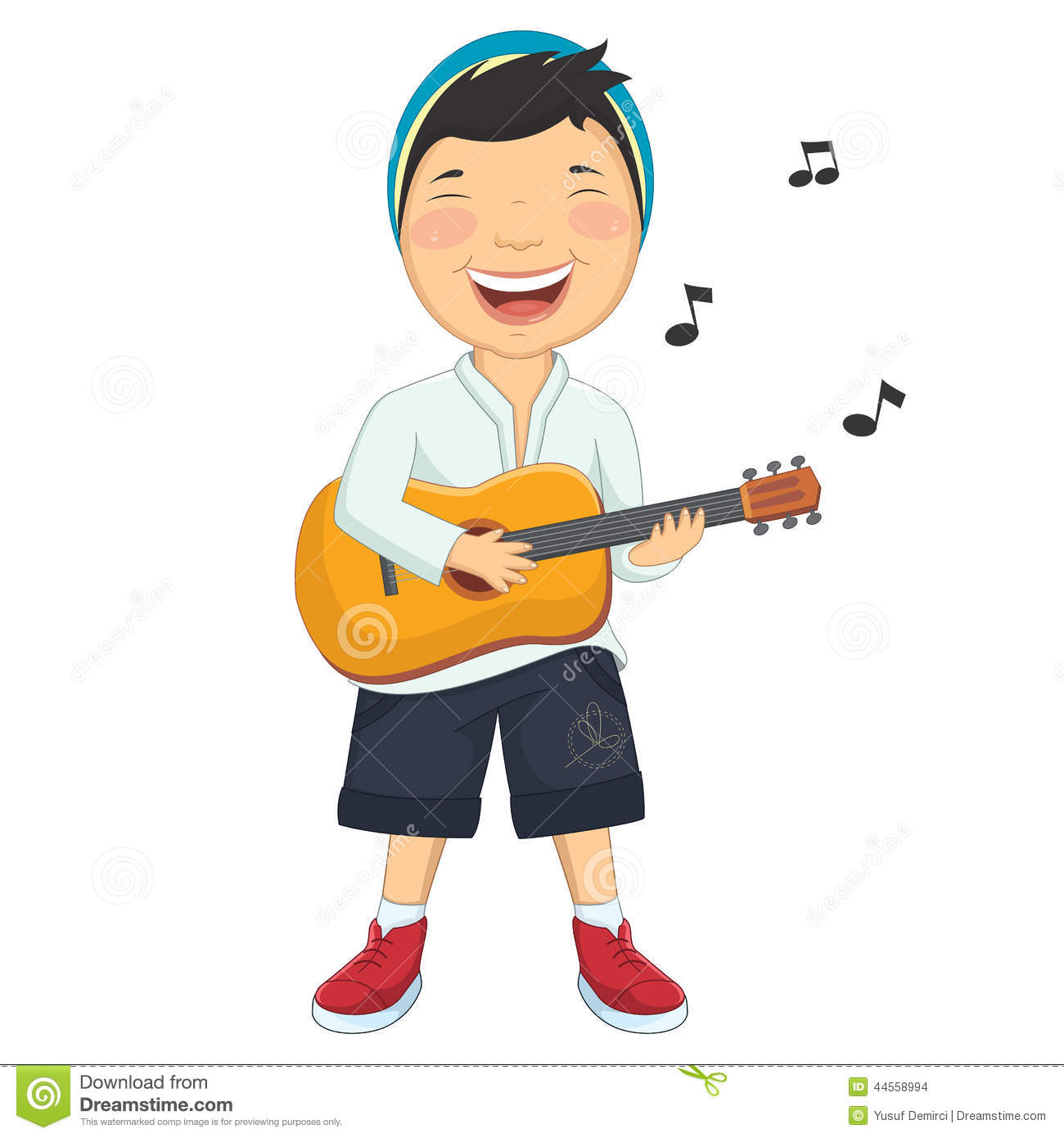 Vector Illustration Of A Little Boy Playing Guitar Stock ...