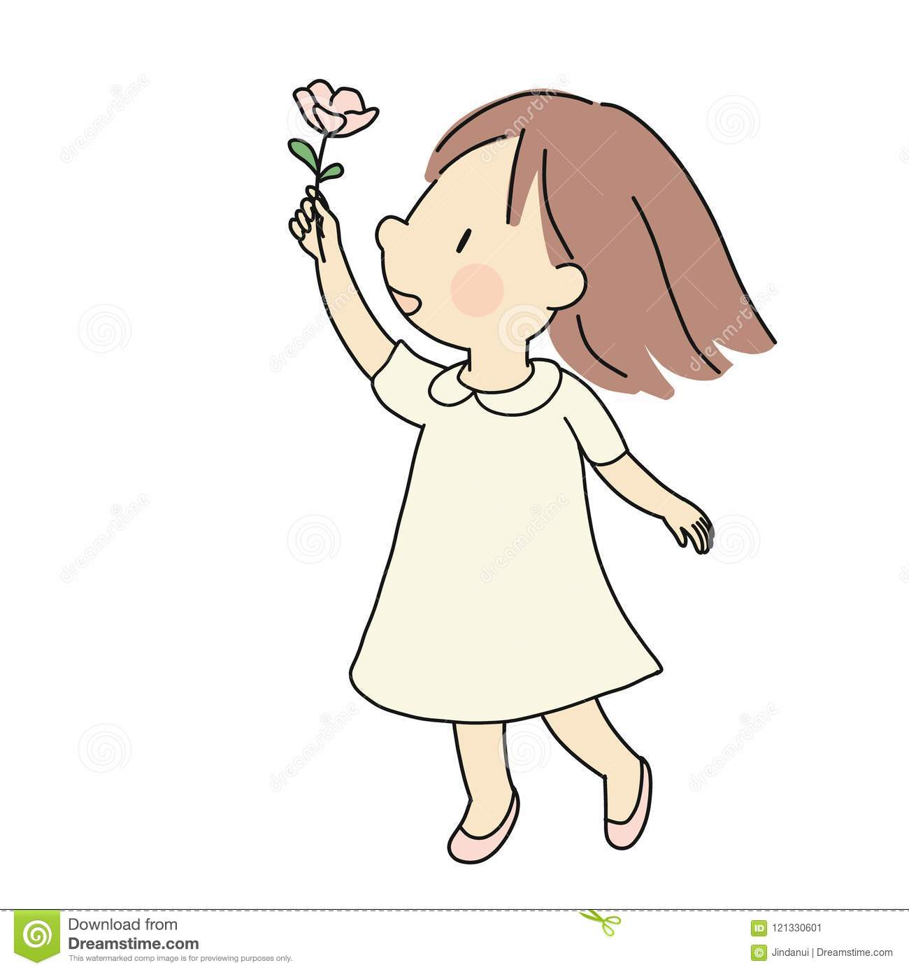 Vector illustration of little happy kid girl giving pink flower. Happiness, love, mother day and valentine day concept. Cartoon
