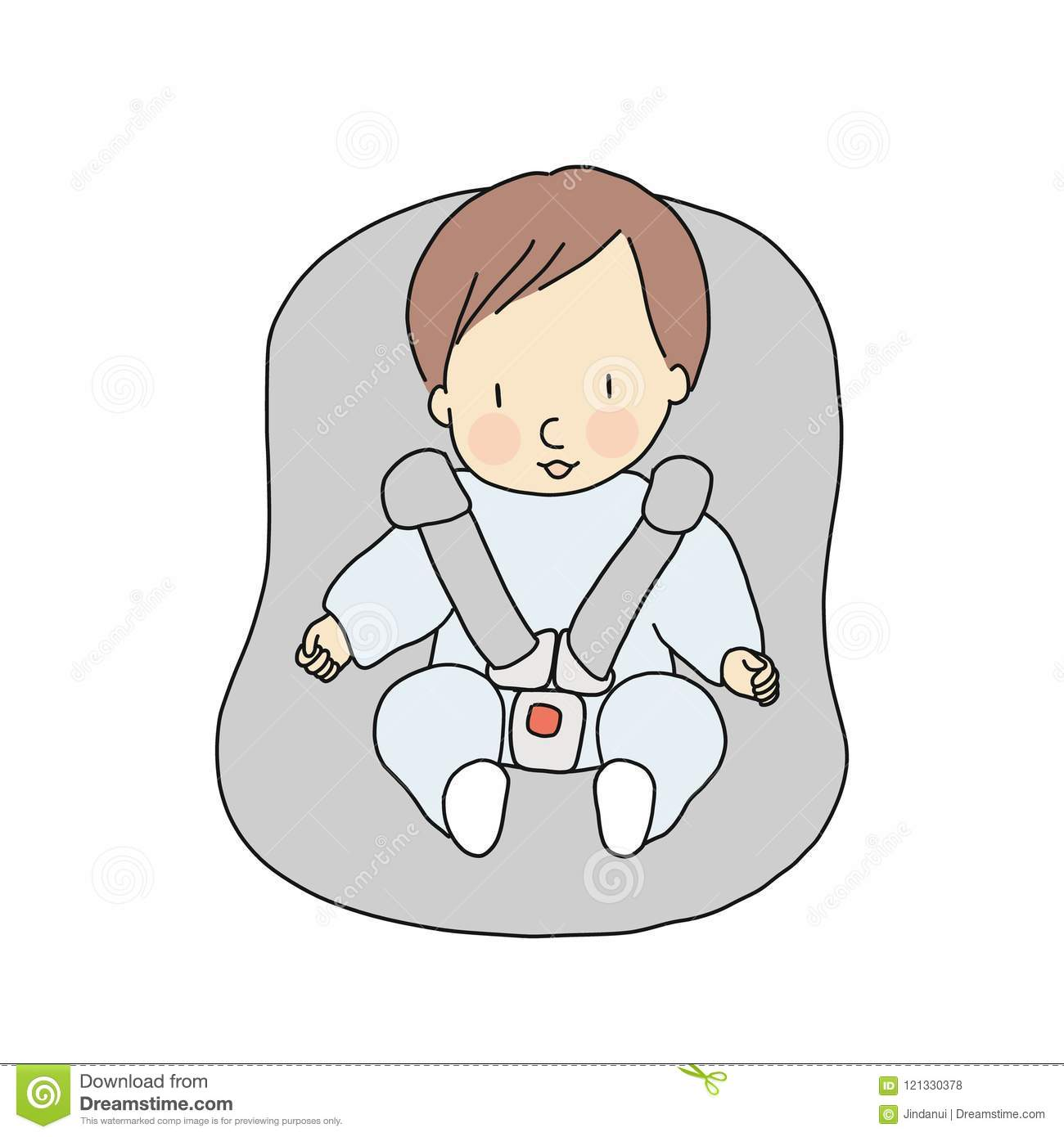 Vector Illustration Of Little Infant Sitting In Car Seat Baby Safety Concept Cartoon Character Drawing Style Stock Illustration Illustration Of Character Infant 121330378