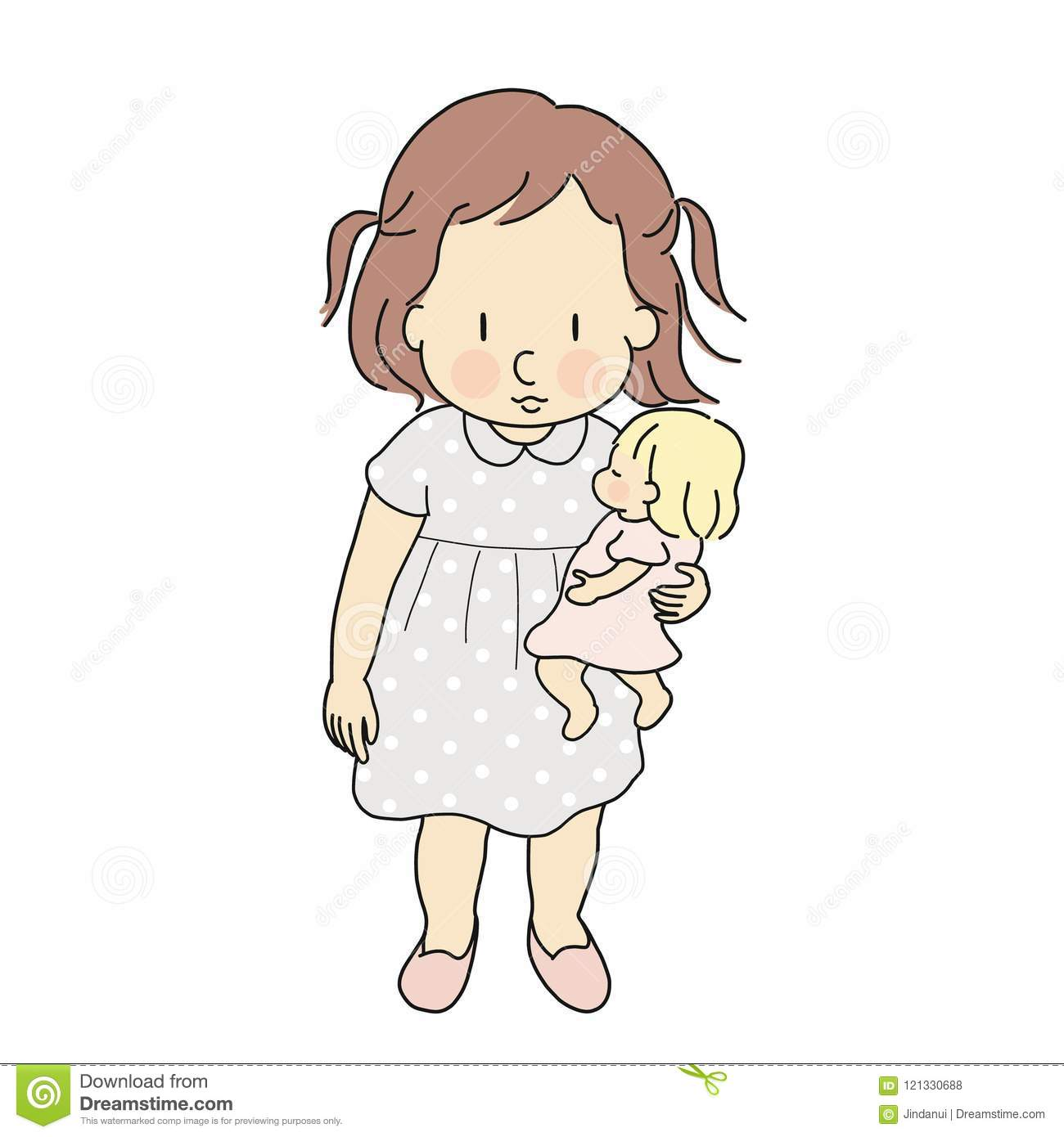 Vector Illustration Of Little Kid Girl Playing Baby Doll Happy