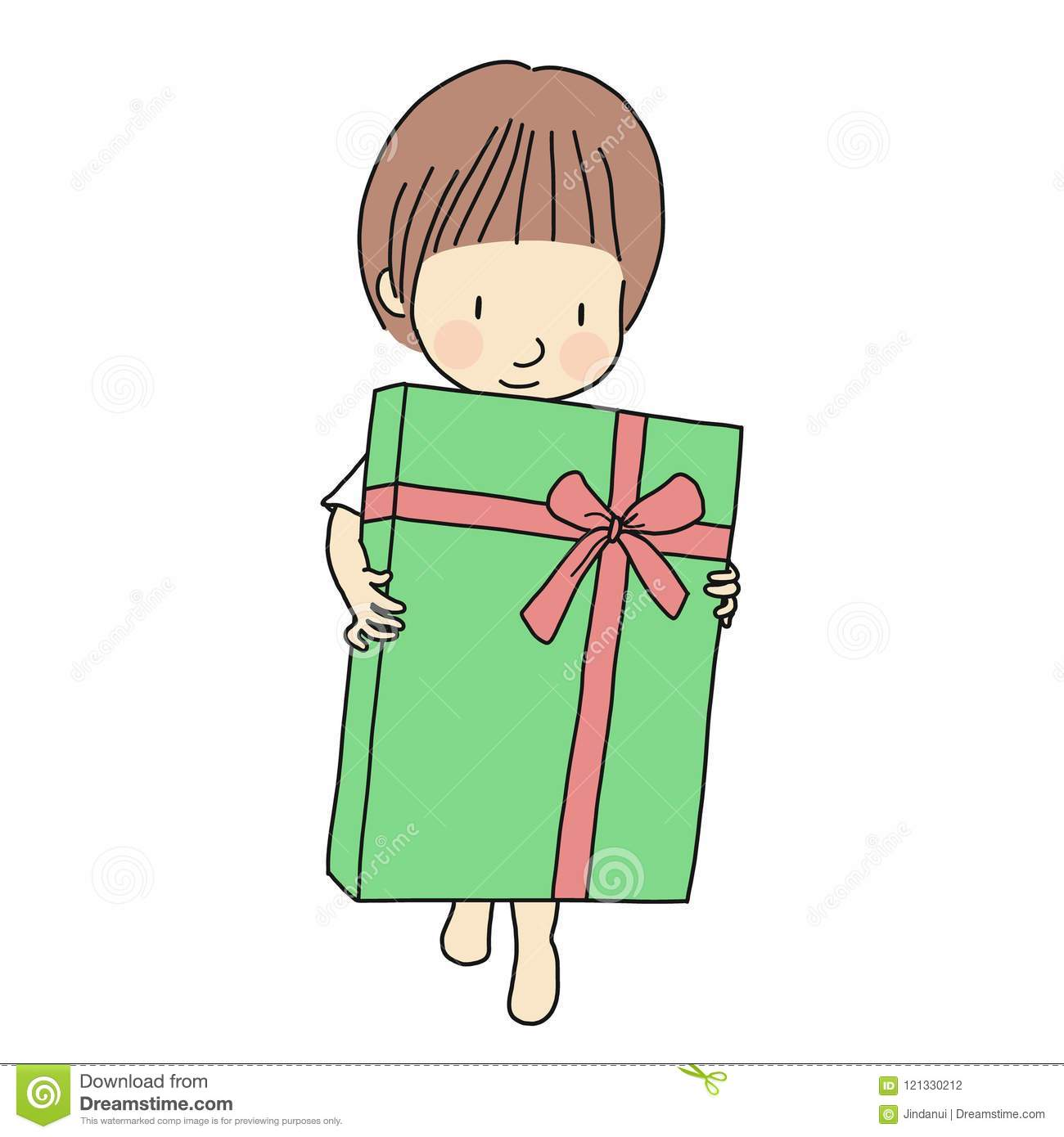 Download Vector Illustration Of Little Kid Holding Big Gift Box With Ribbon Family Concept