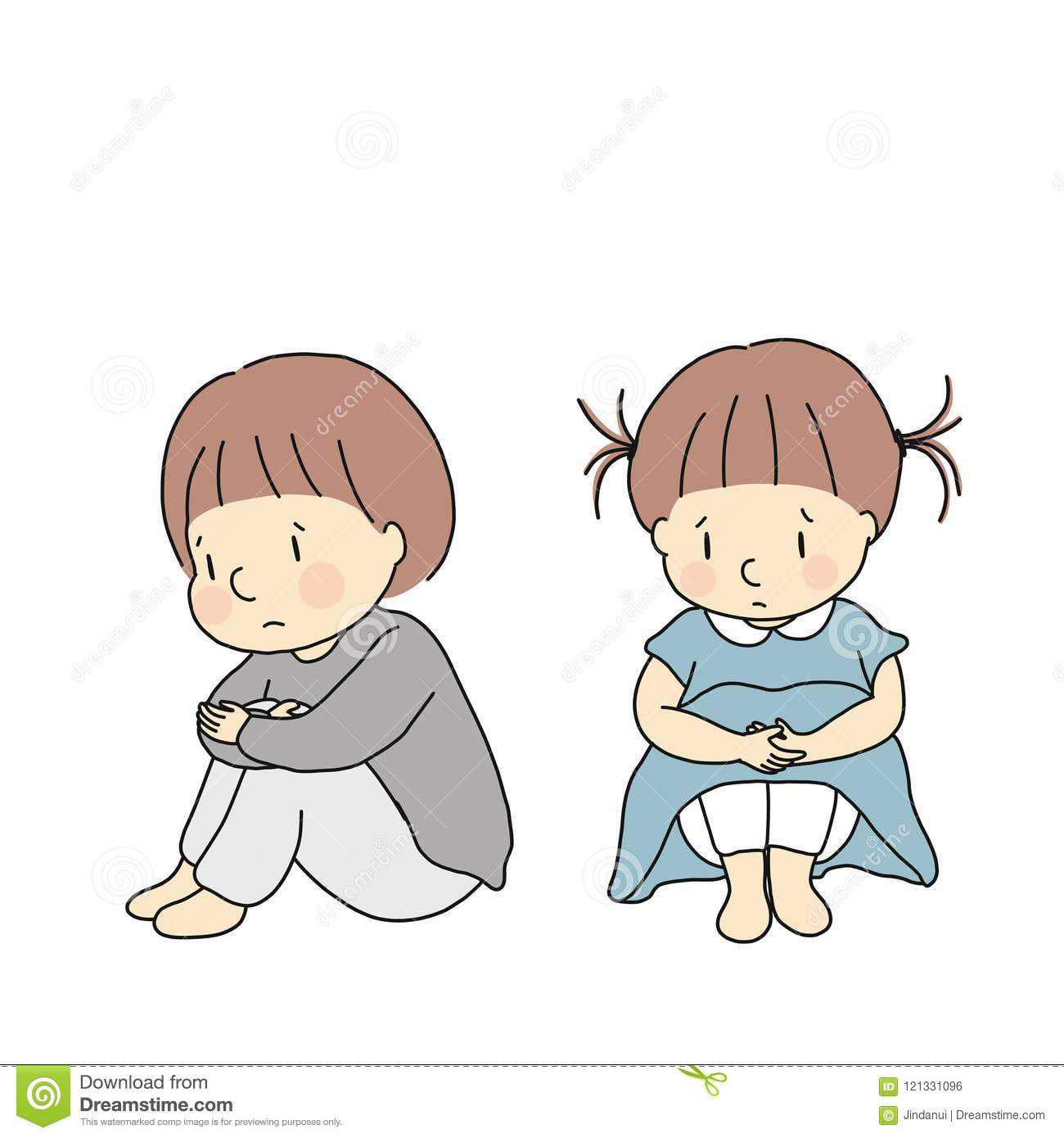 Vector illustration of little kids hugging knees, feeling sad and anxious. Child emotion problem concept Cartoon character drawing