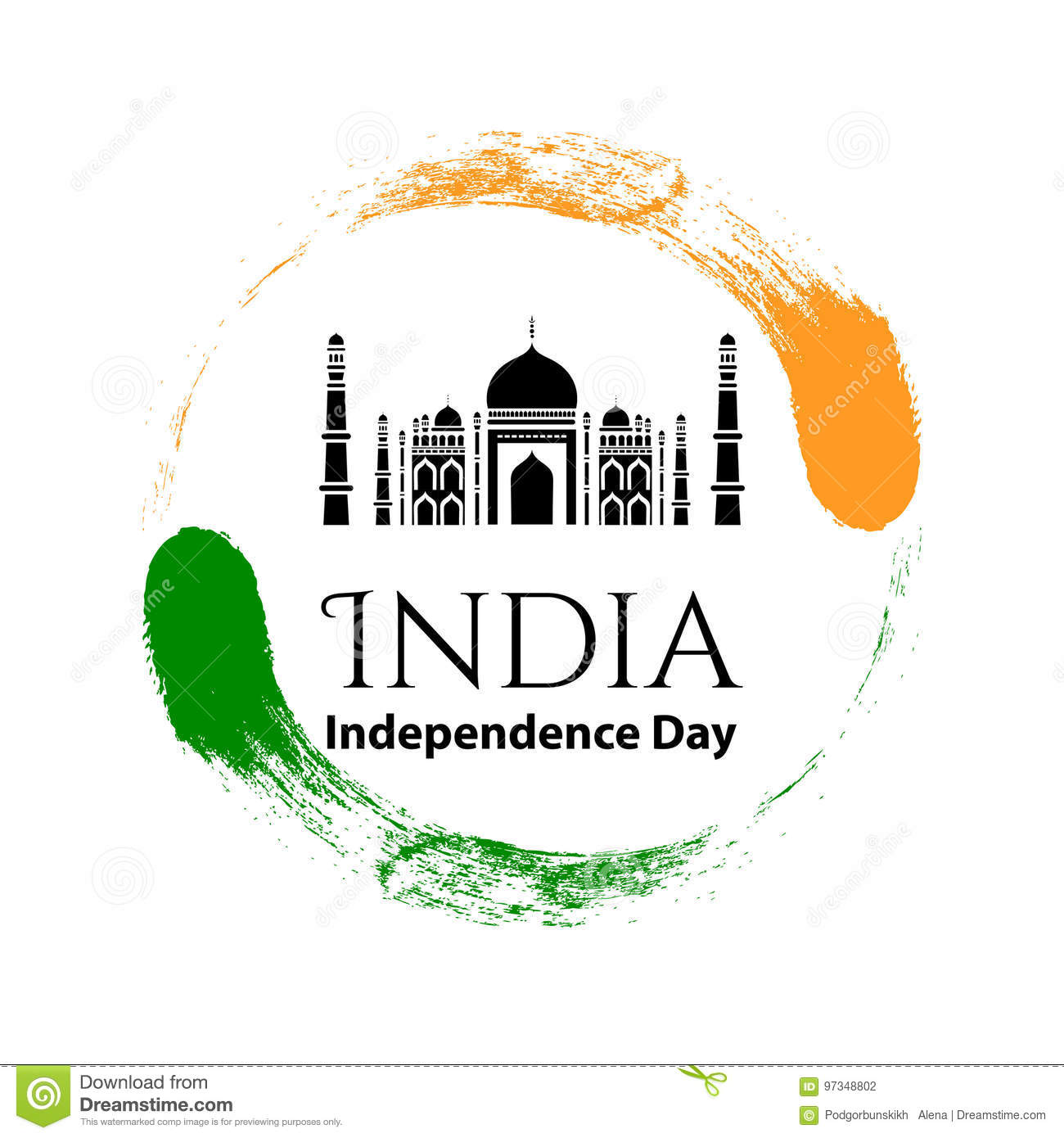 Vector Illustration Logo15 August Indian Independence Day In Vintage