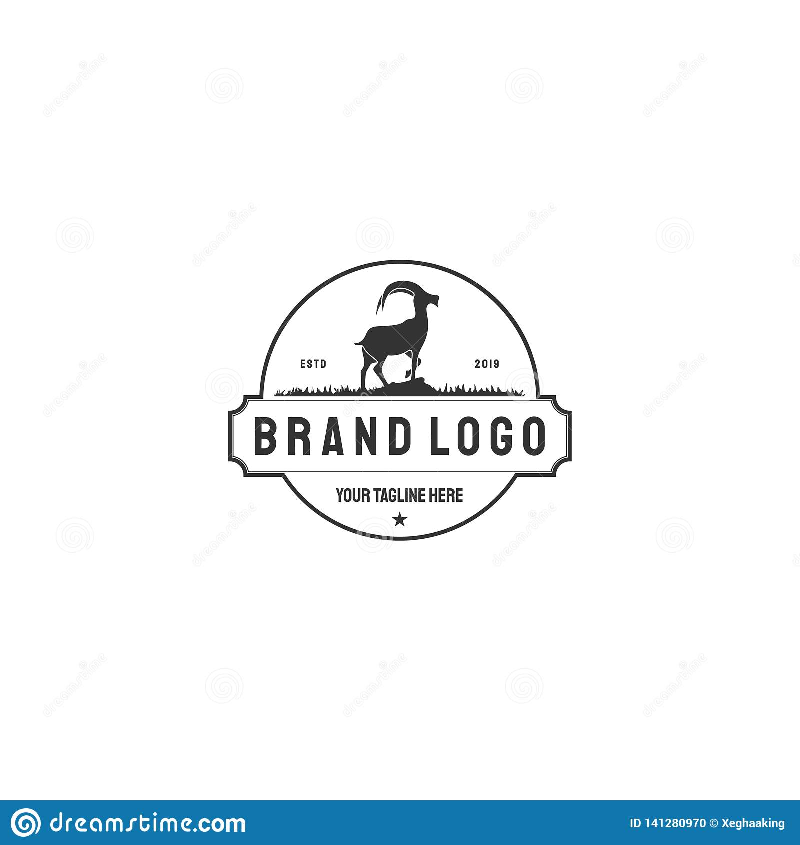 Vector Illustration logos and badges farm goat isolated or white background. Farm animals badges