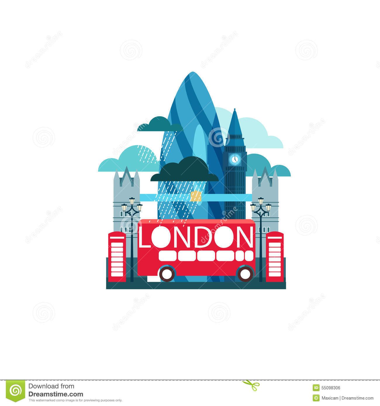 Vector Illustration Of London Great Britain With Famous ...