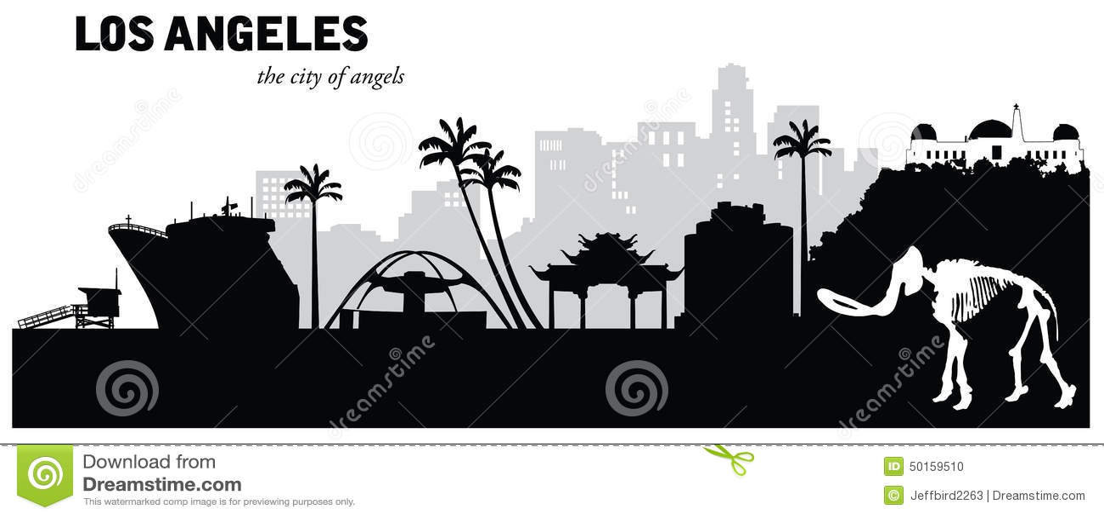 Vector Illustration Of Los Angeles California Cityscape