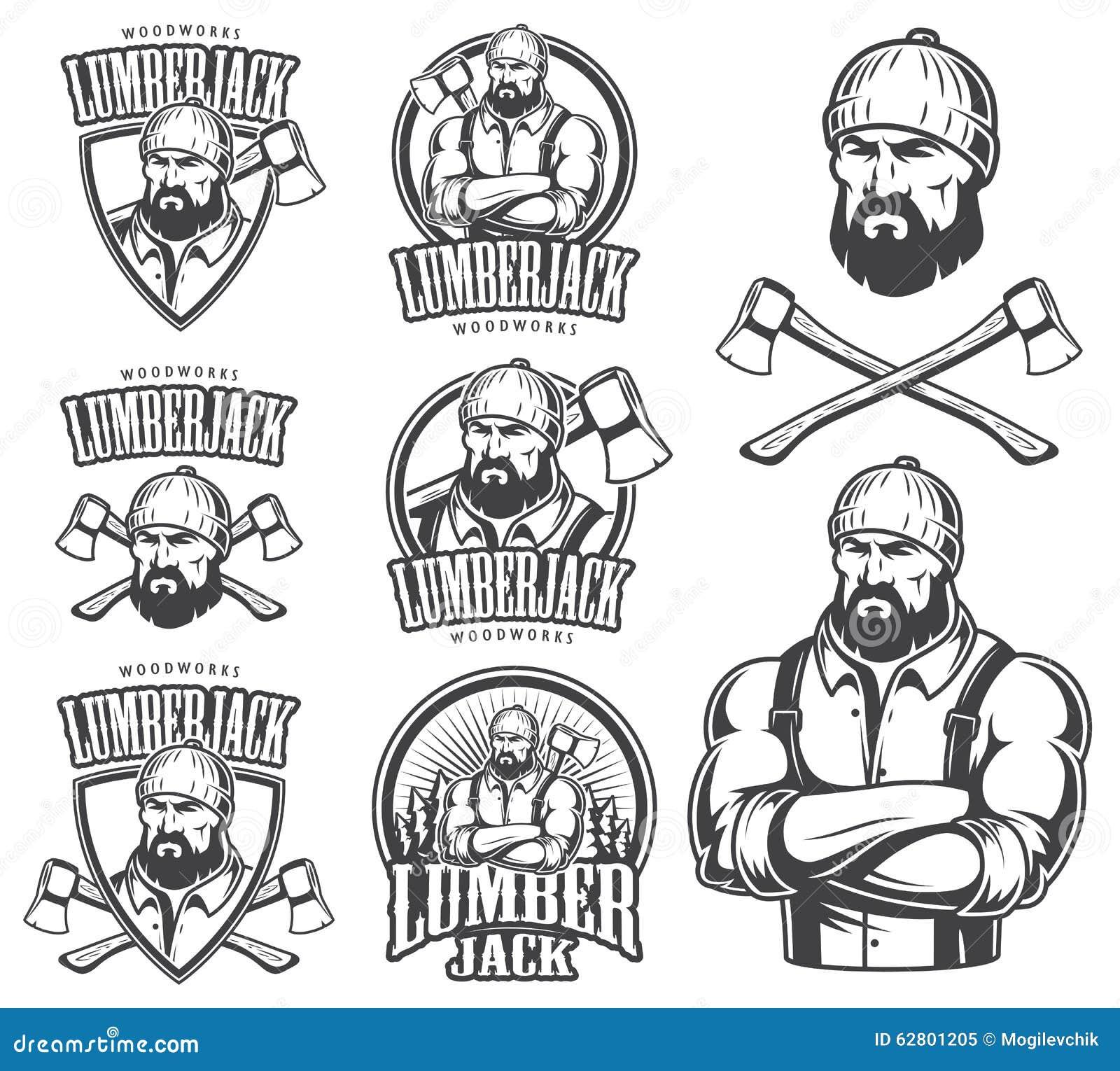 Vector Illustration Of Lumberjack Emblems Stock Vector