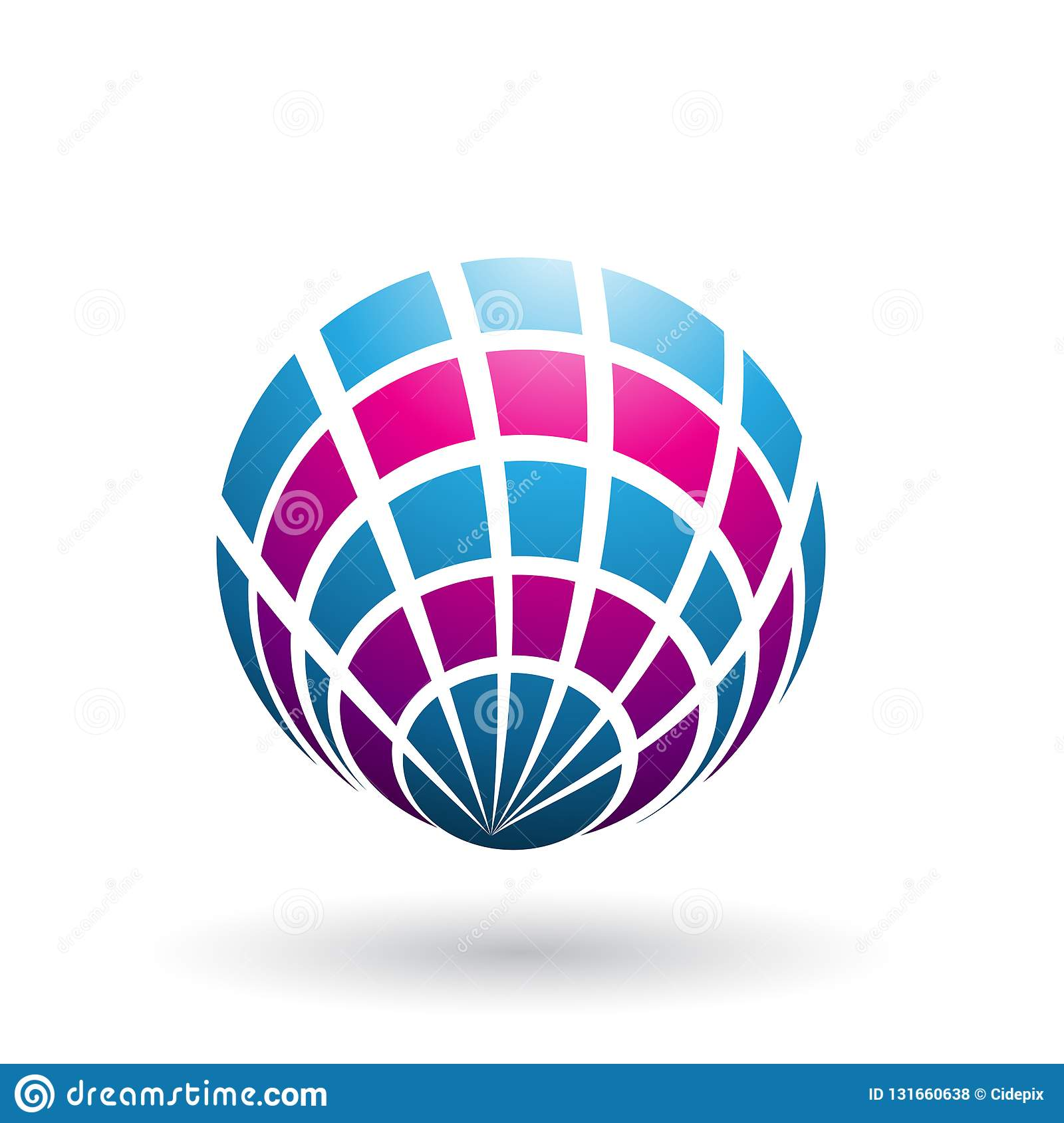 Magenta and Blue Shell Like Round Icon isolated on a White Background