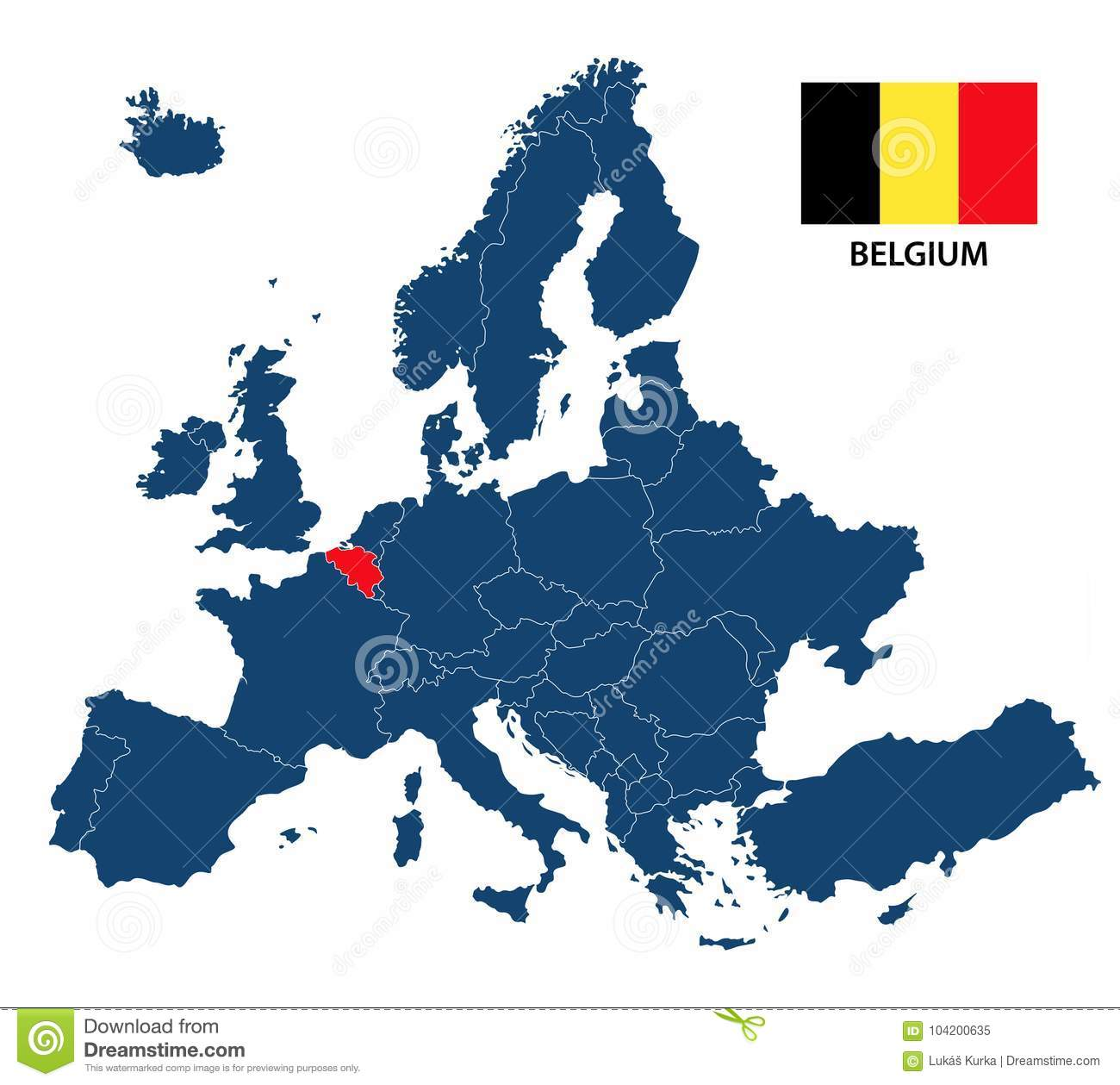 Vector illustration of a map of europe with highlighted belgium download vector illustration of a map of europe with highlighted belgium stock vector illustration of gumiabroncs Images
