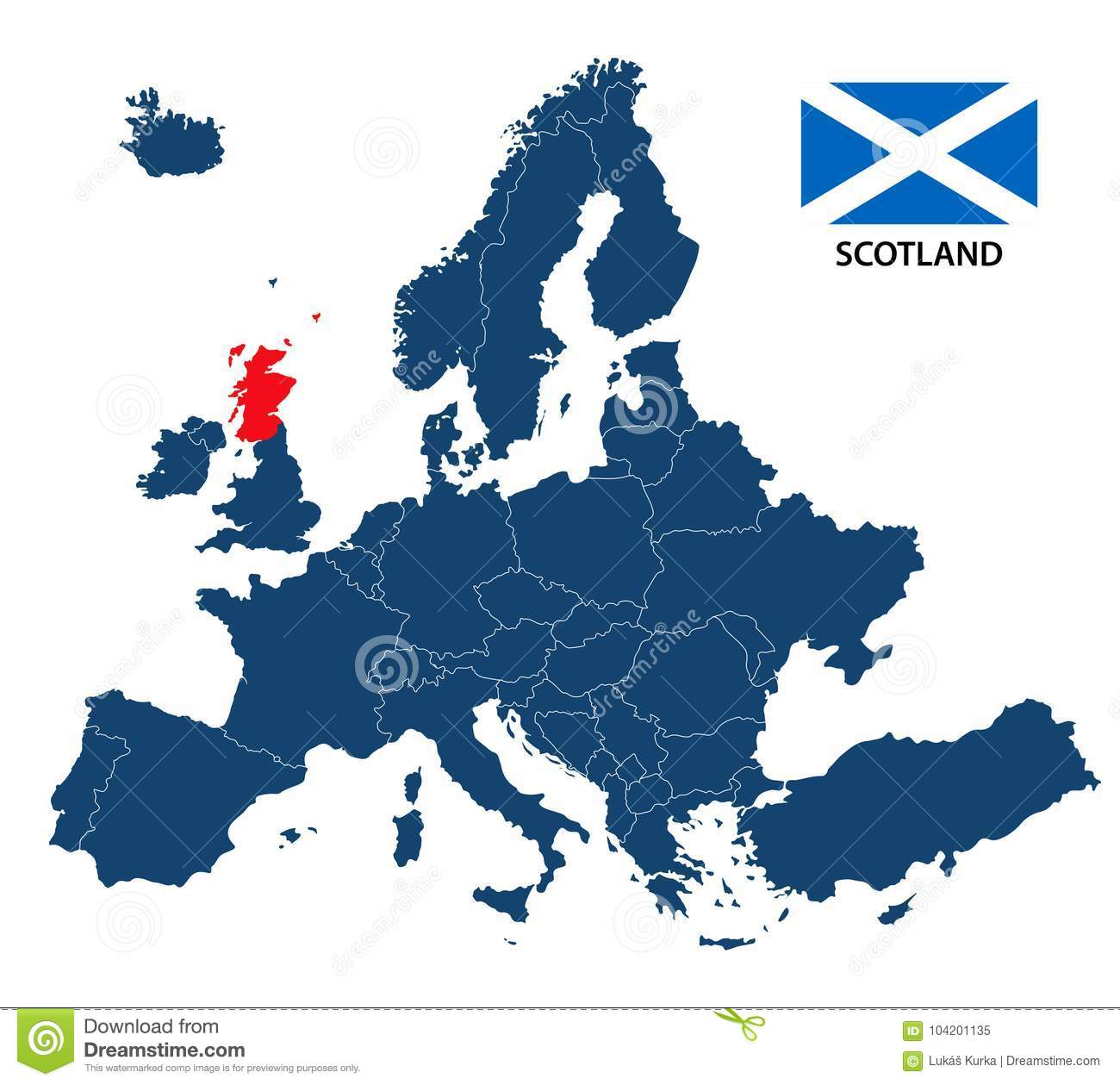 Vector Illustration Of A Map Of Europe With Highlighted Scotland