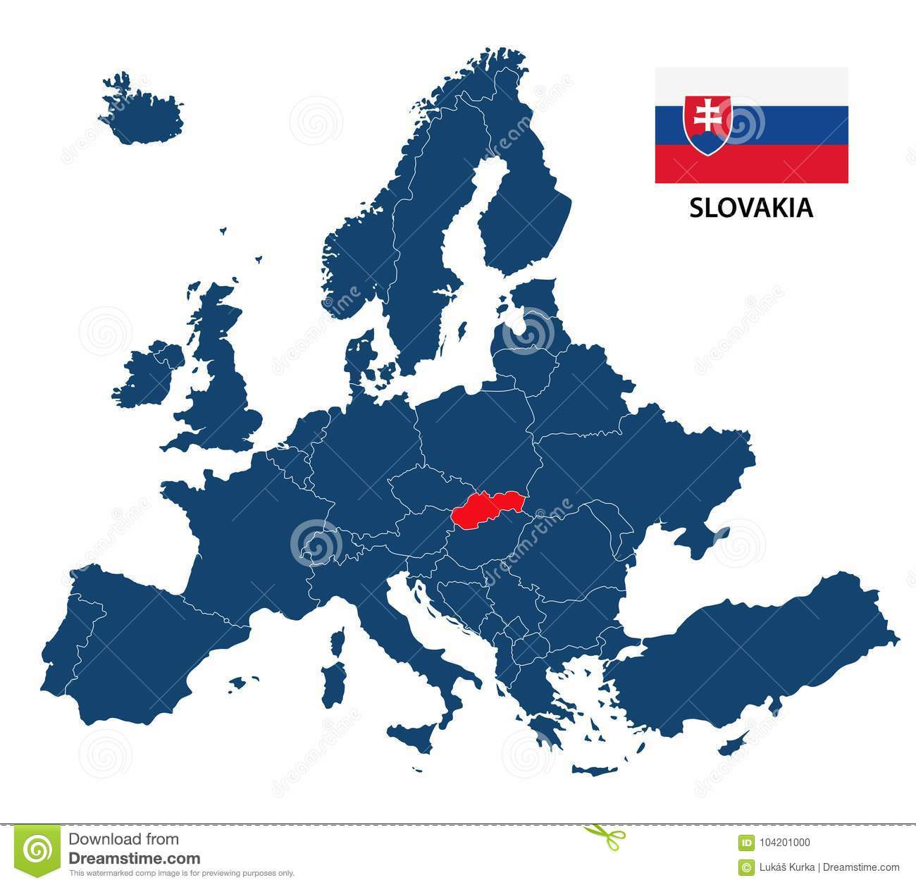Vector Illustration Of A Map Of Europe With Highlighted Slovakia