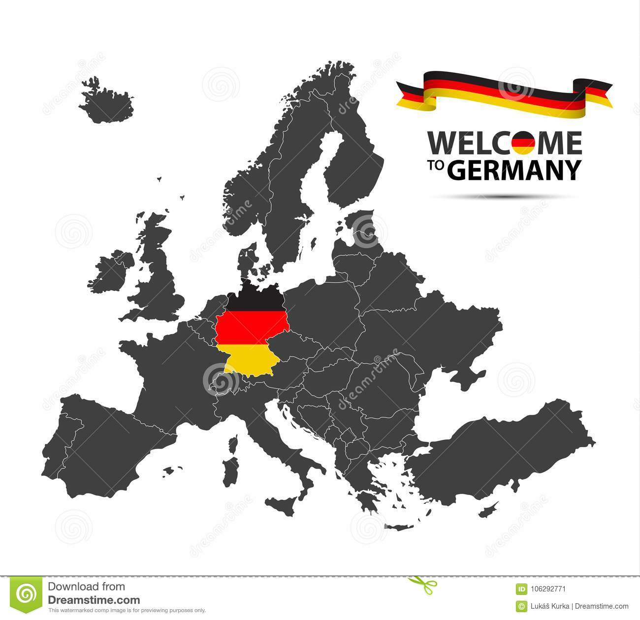 Germany Map Of Europe.Vector Illustration Of A Map Of Europe With The State Of Germany