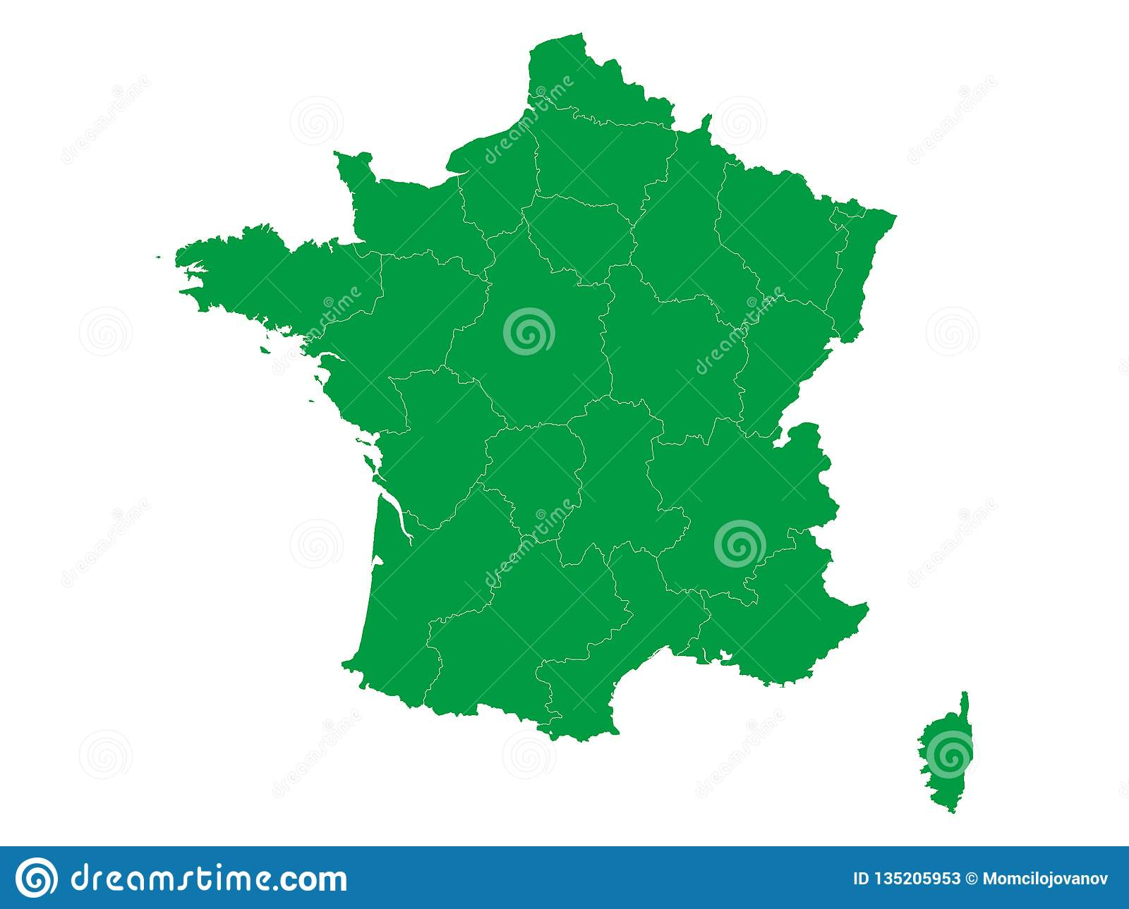Map Of Provinces In France.Map Of France With Provinces Stock Vector Illustration Of