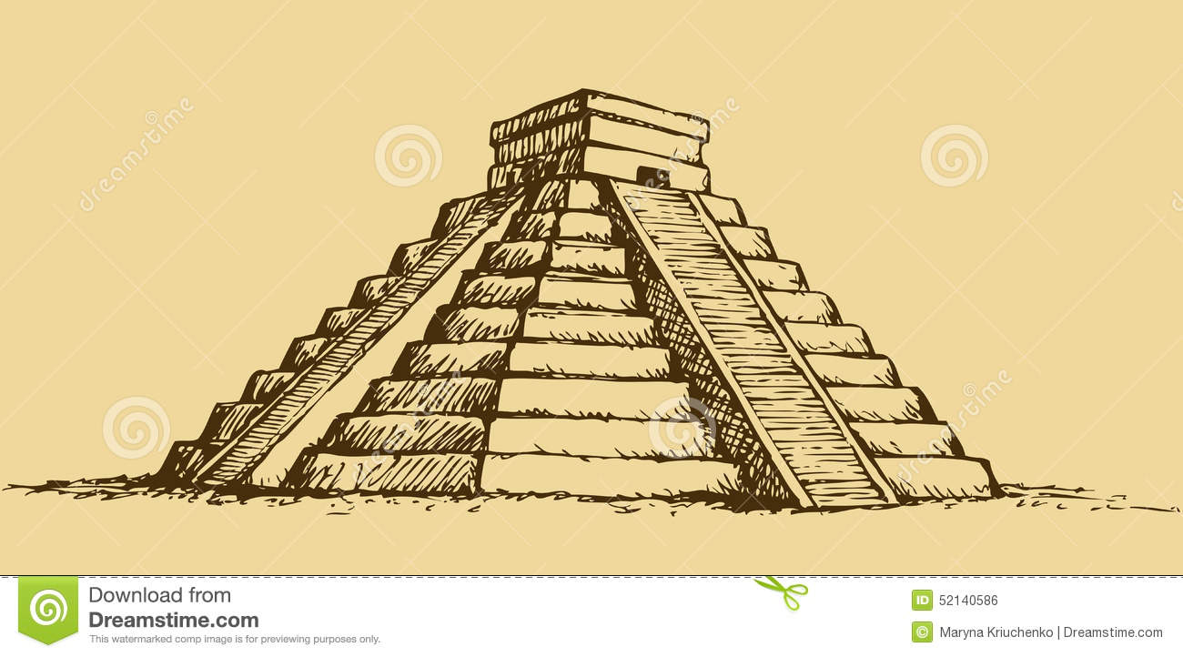 vector illustration with mayan pyramids in mexico stock archaeologists clipart archaeology dig clipart
