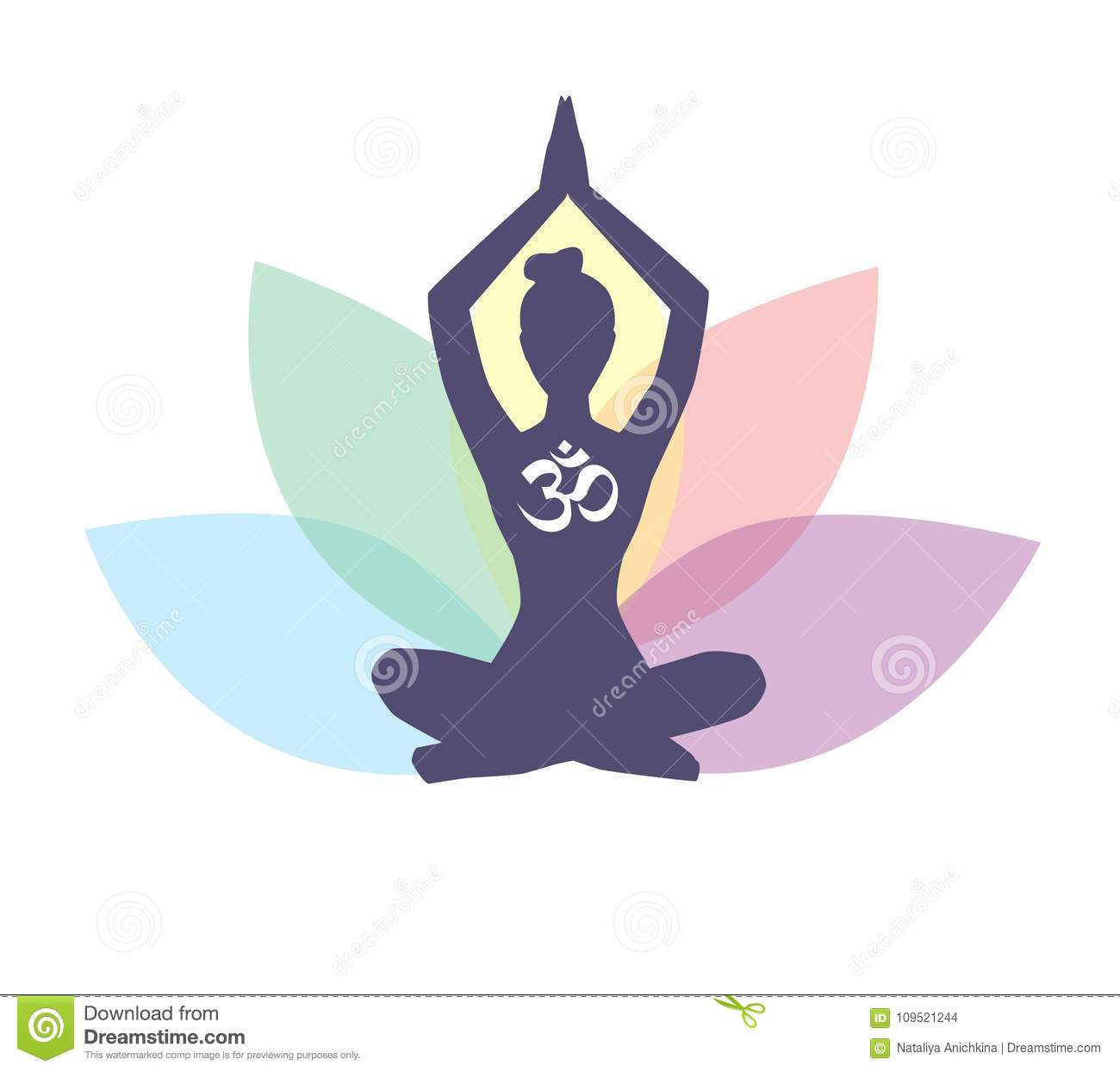 Vector Yoga Illustration With Female Silhouette And Lotus Flower