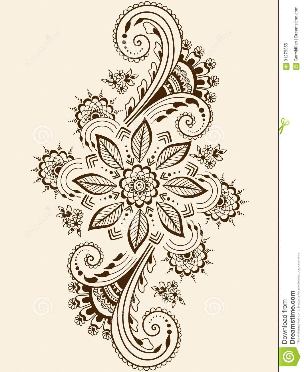 Traditional Indian Style Interior Design: Vector Illustration Of Mehndi Ornament. Traditional Indian