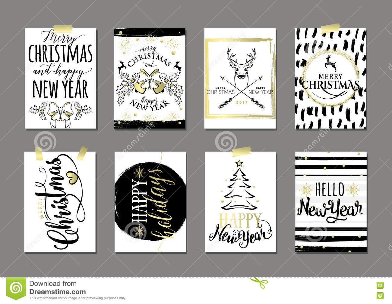 vector illustration of merry christmas and happy new year card set
