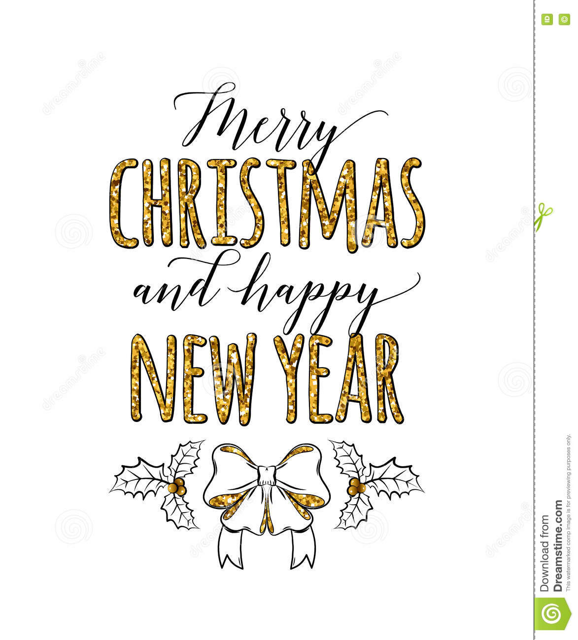 Vector Illustration Of Merry Christmas And Happy New Year Stock ...