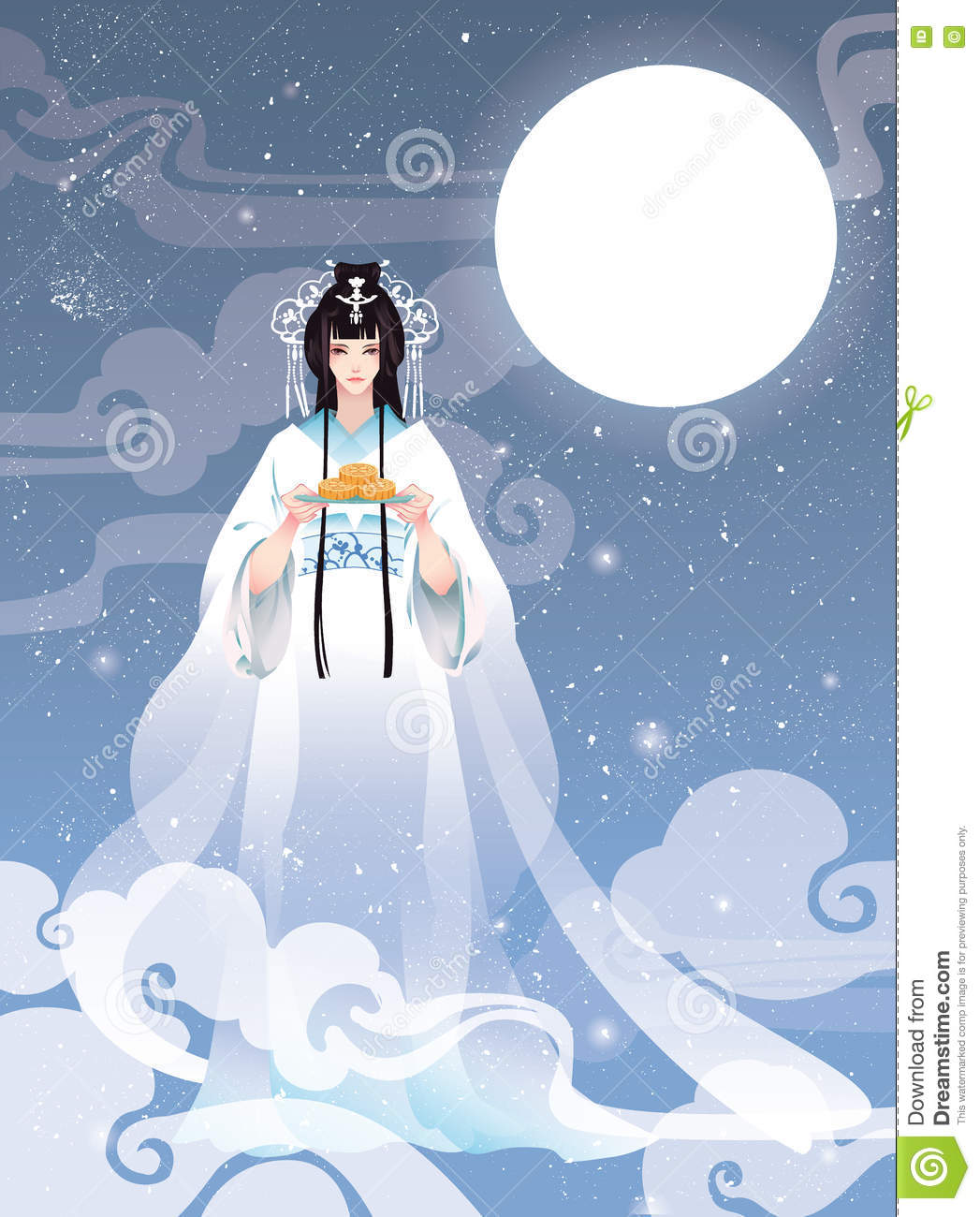 Moon Cake Cartoon Images : Vector Illustration Mid Autumn Festival With Chang e, The ...