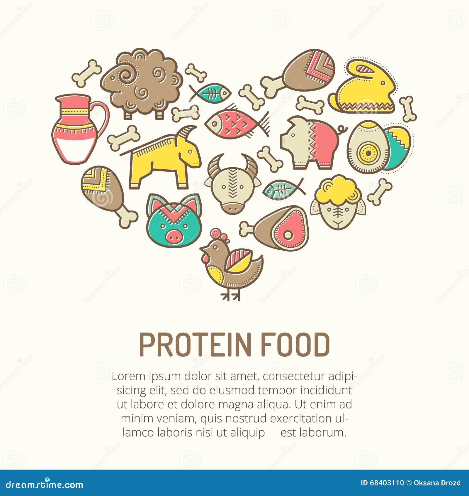 Vector Illustration mit den umrissenen Lebensmittelikonen, die eine Herzform bilden
