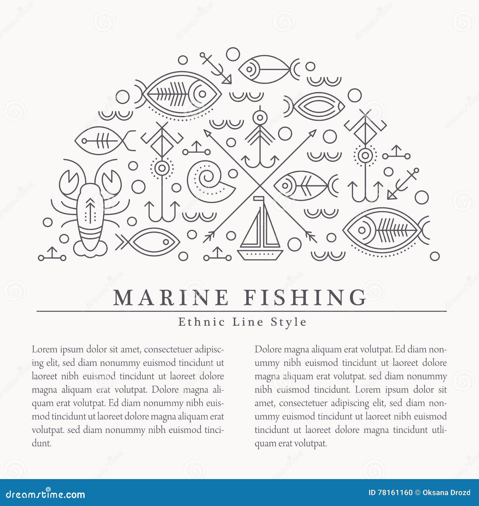 Vector Illustration mit den umrissenen See- und Fischenzeichen, die einen Halbkreis bilden