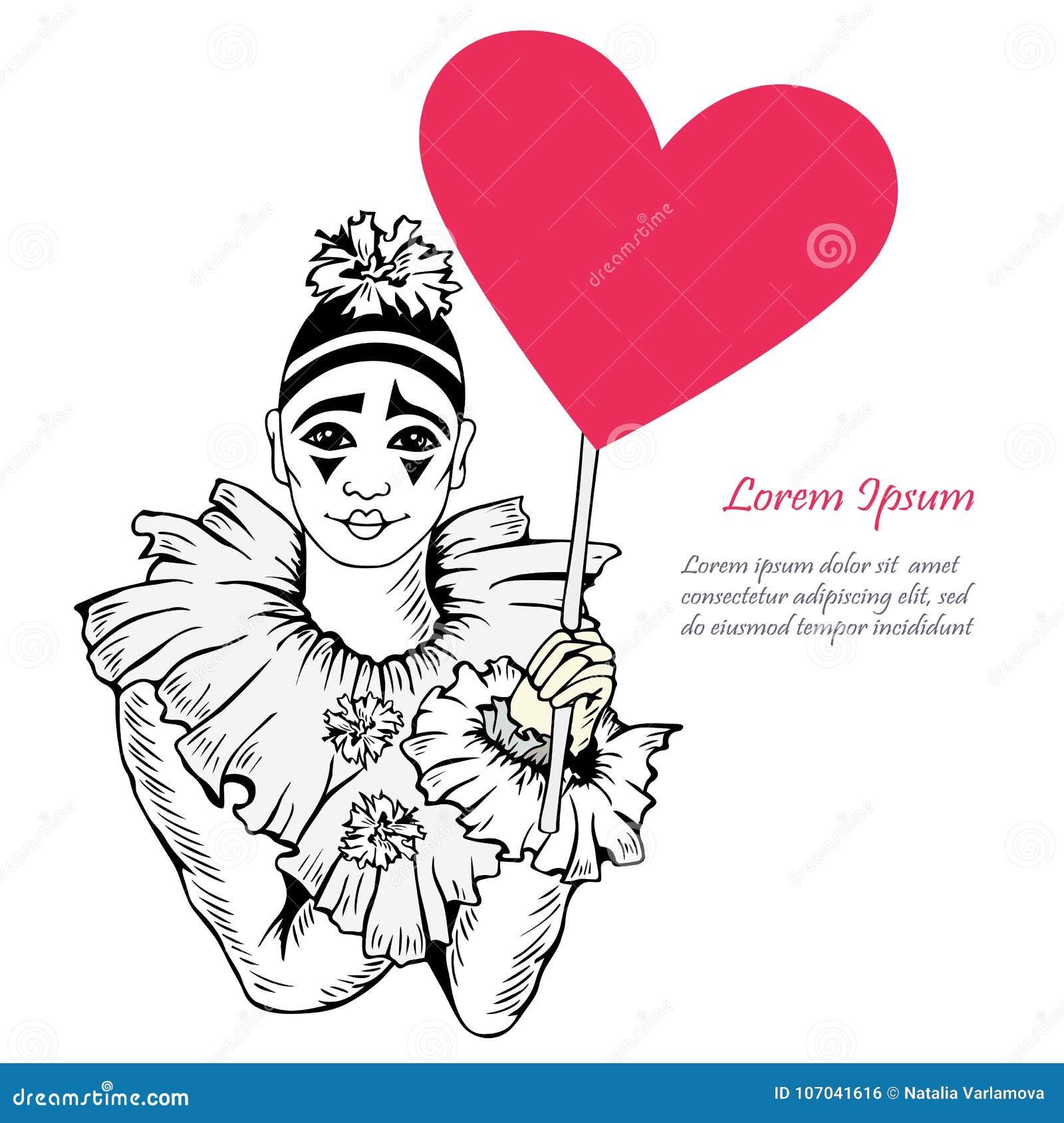 Vector Illustration mit Hand gezeichnetem Pierrot mit Herzen