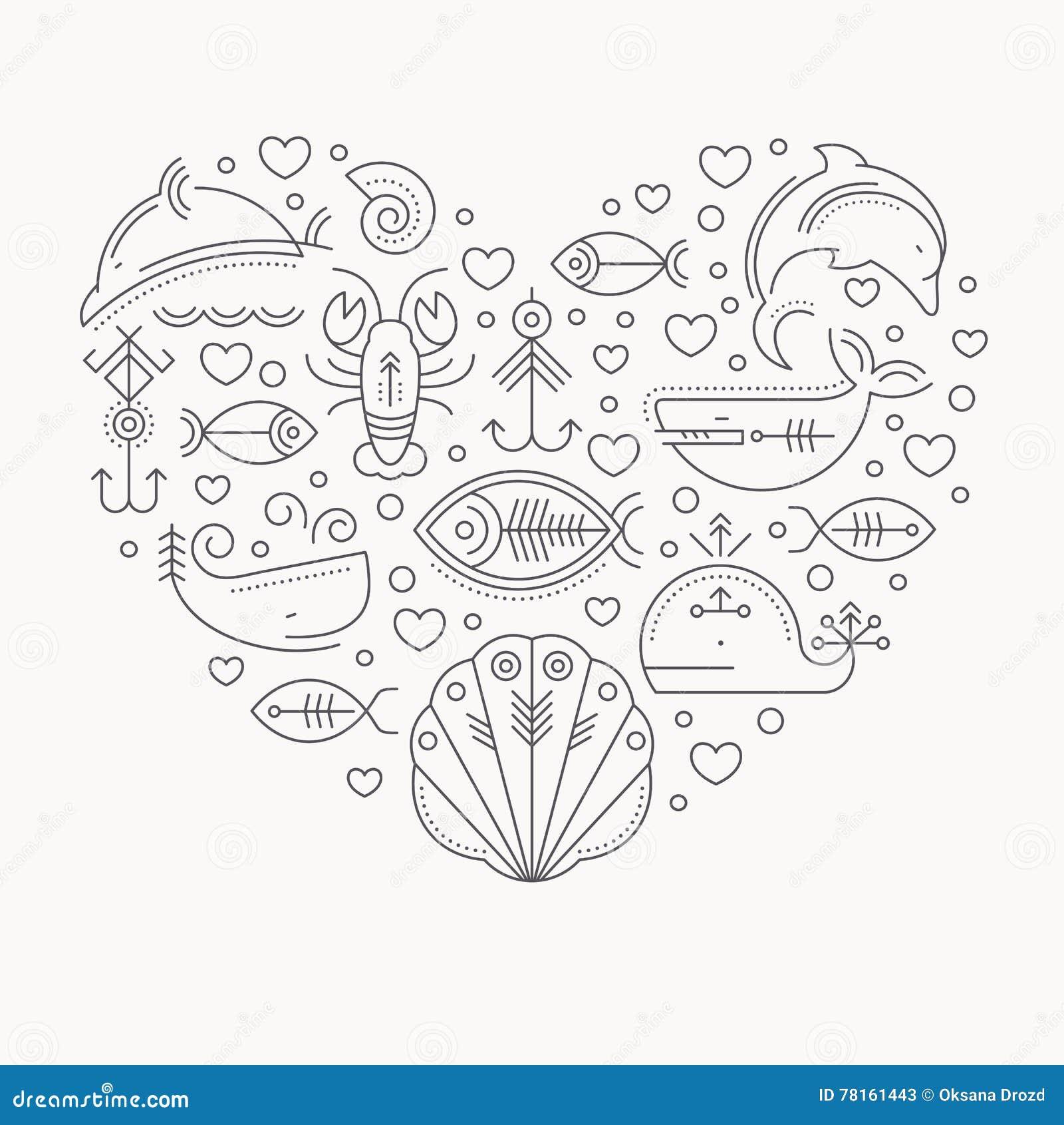 Vector Illustration mit umrissenen Zeichen von den Meerestieren, die ein Herz bilden