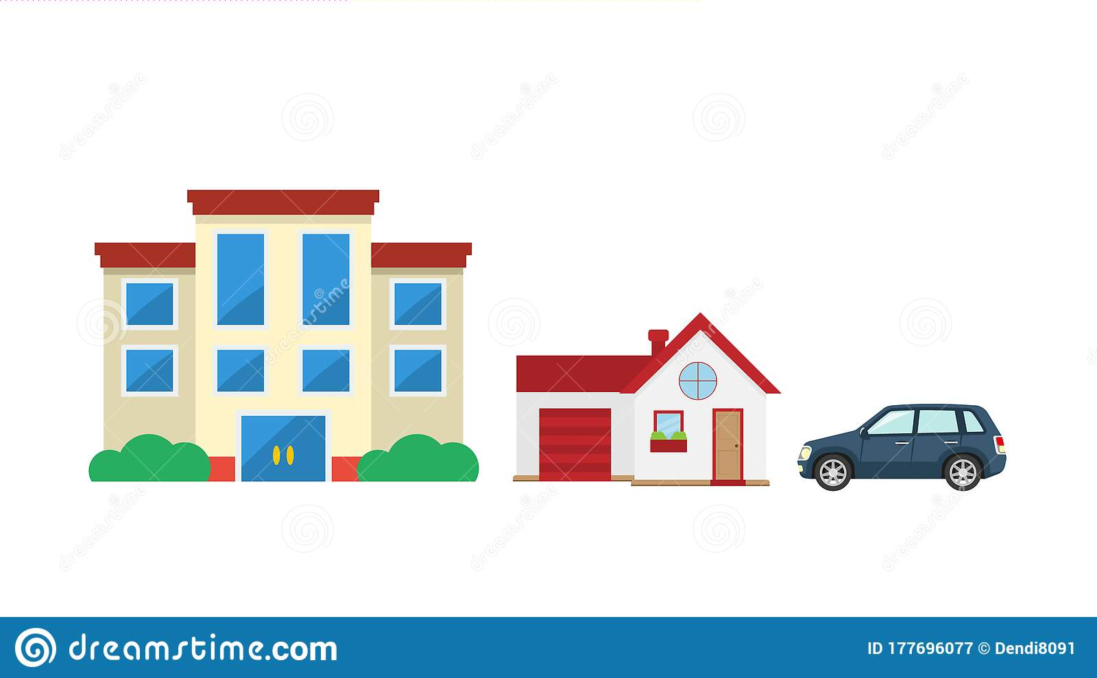 Vector Illustration Modern Business Office Building And Houses With Cars Stock Vector Illustration Of Flat Green 177696077