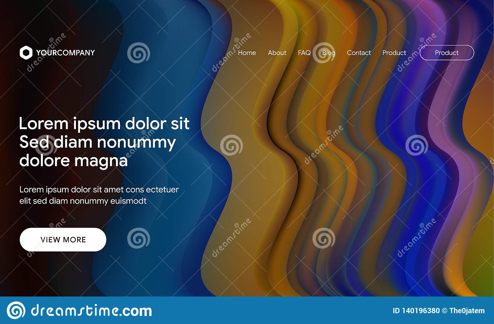 Vector illustration of Modern design with flow shape and liquid wave background. Responsive landing page or web template design