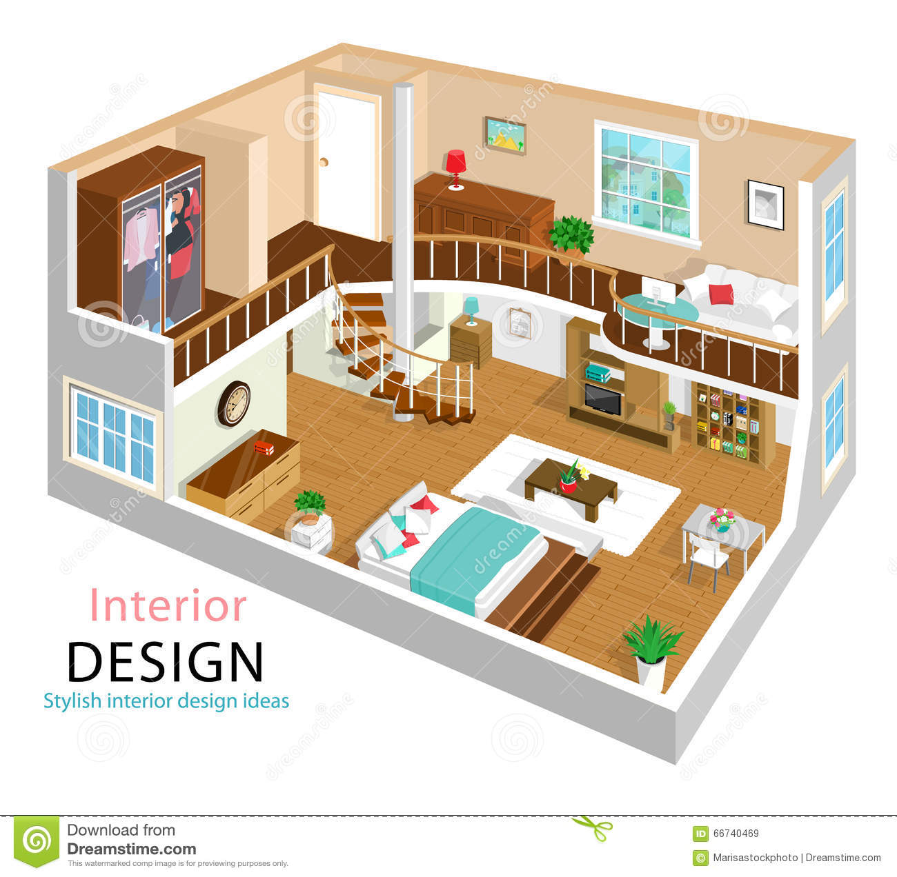 A vector illustration of a modern detailed isometric apartment interior design 3d isometric room interiors