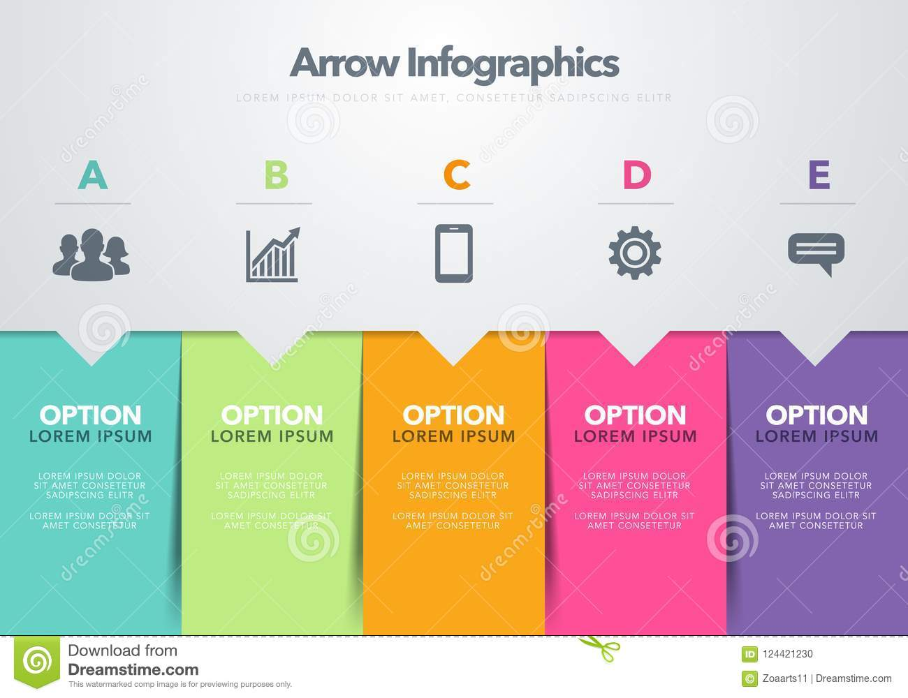 Vector illustration modern infographic design template concept of download vector illustration modern infographic design template concept of arrow business model with five successive steps accmission Image collections
