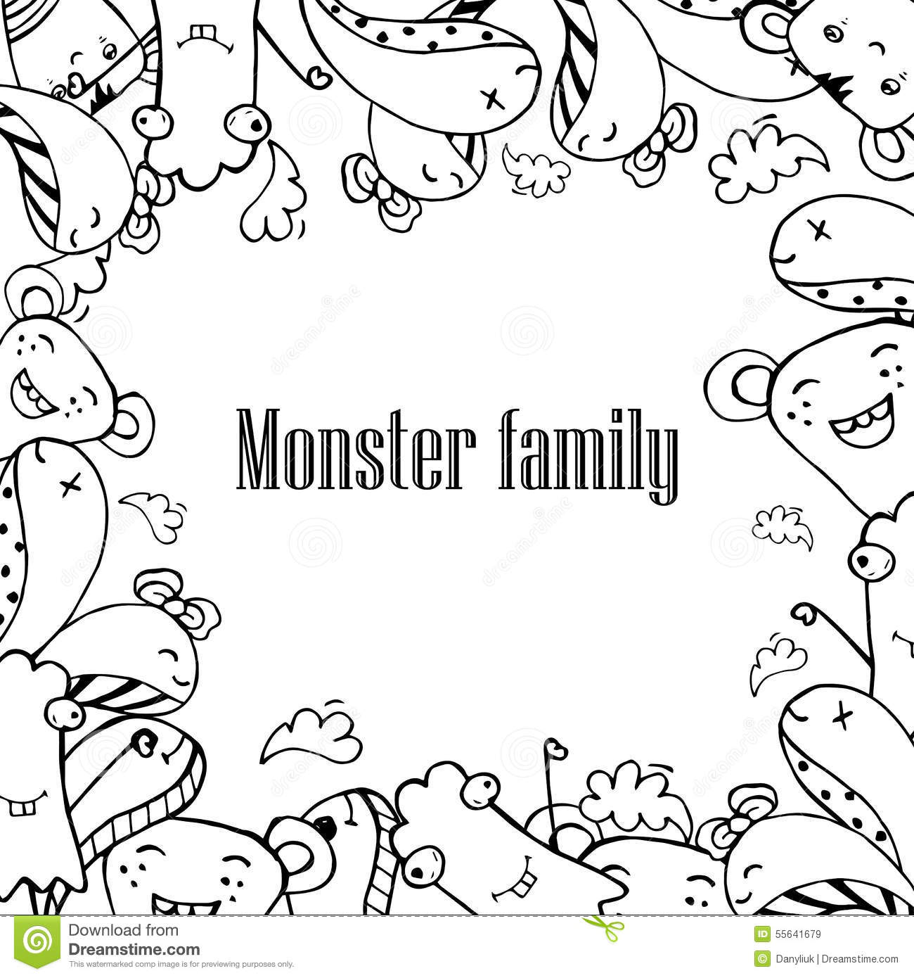 Vector Illustration Of Monsters And Cute Alien Friendly Cool