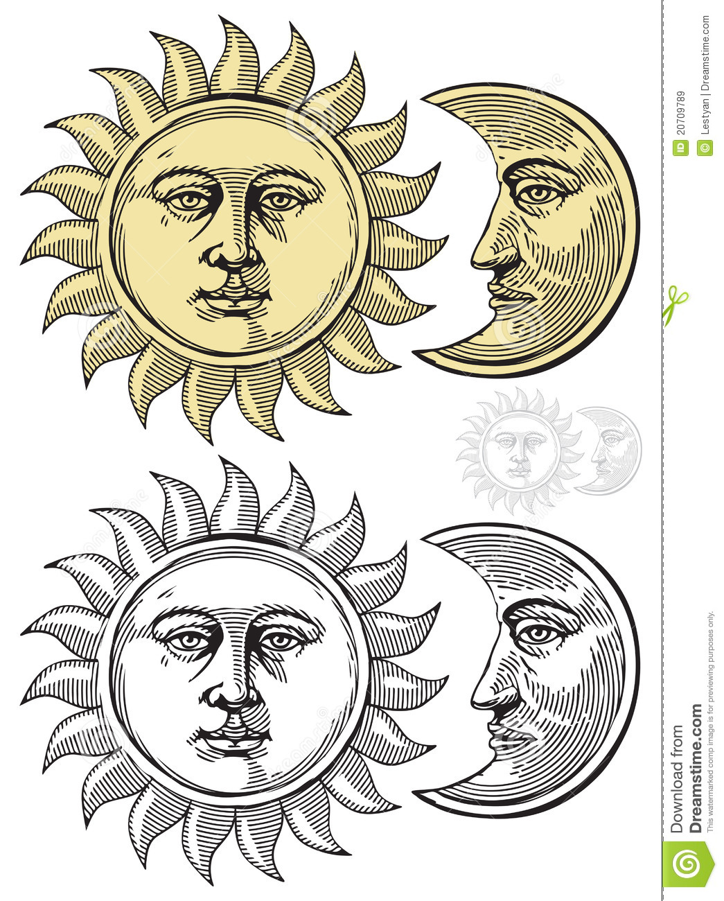 Vector Illustration Of Moon And Sun Royalty Free Stock