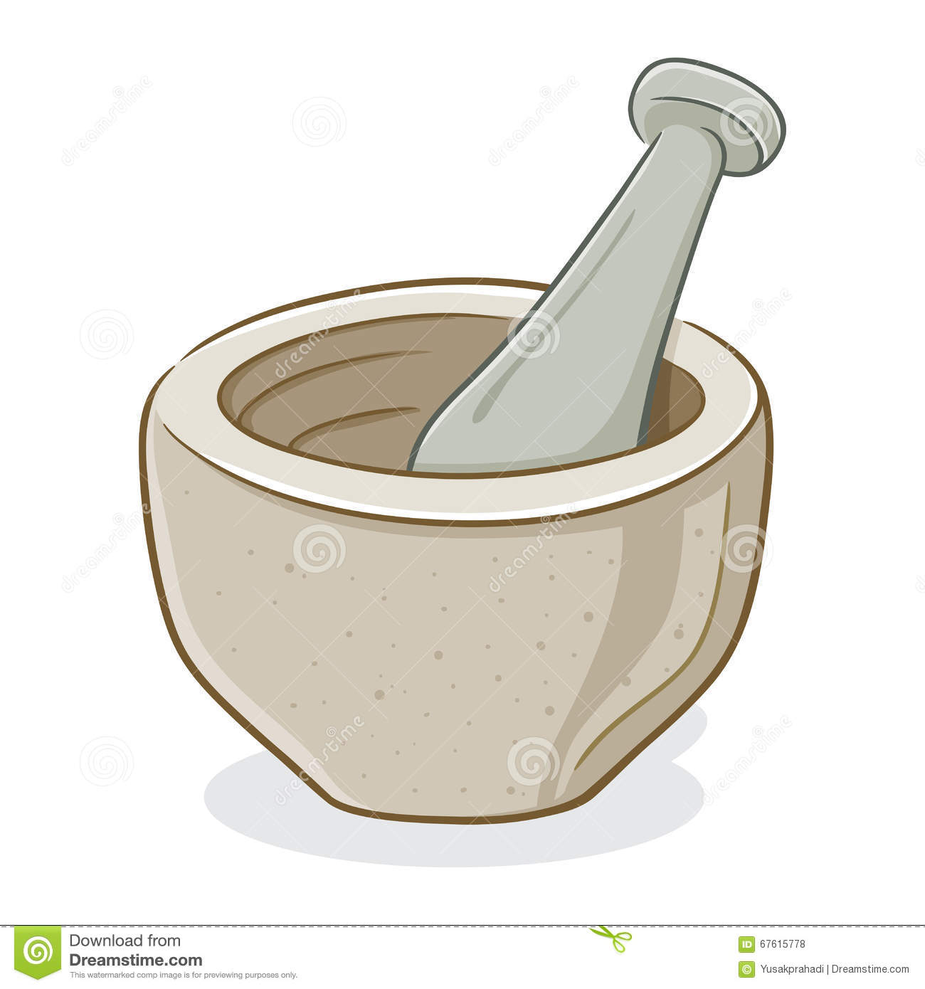 Vector illustration of mortar and pestle stock vector for Art et cuisine chaudron line
