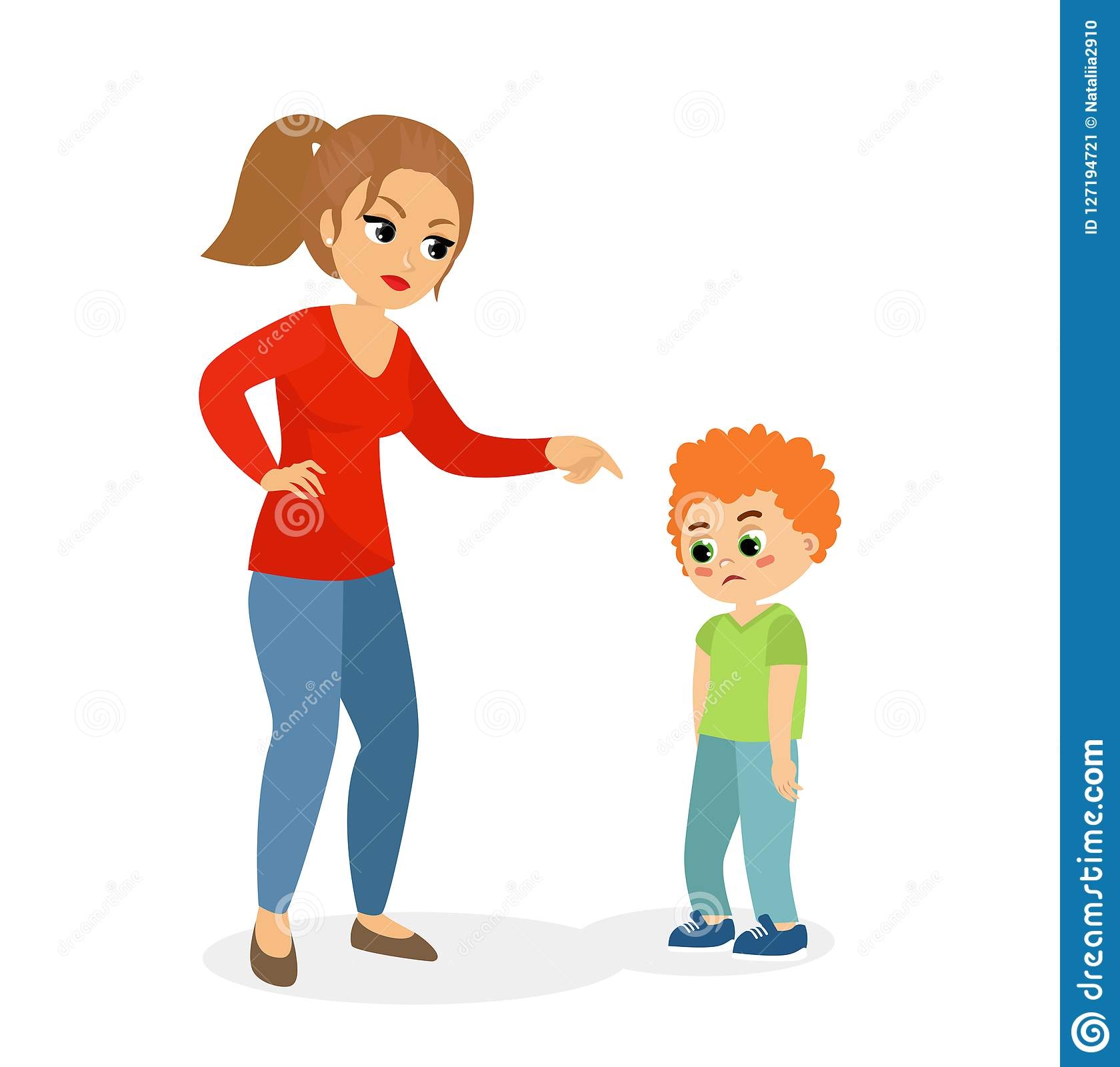 Mother Scolding His Daughter Angry Mom Stock Vector