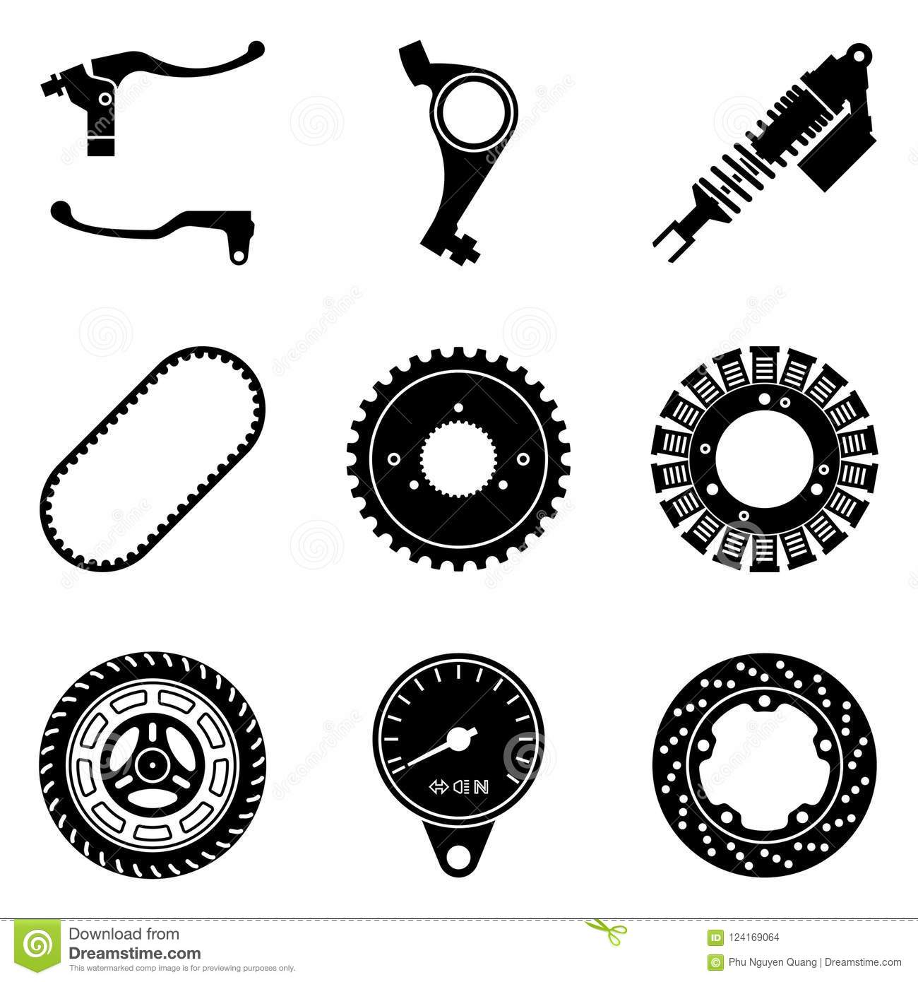Set Of Motorcycle Parts Icons Silhouette Vector Stock Vector