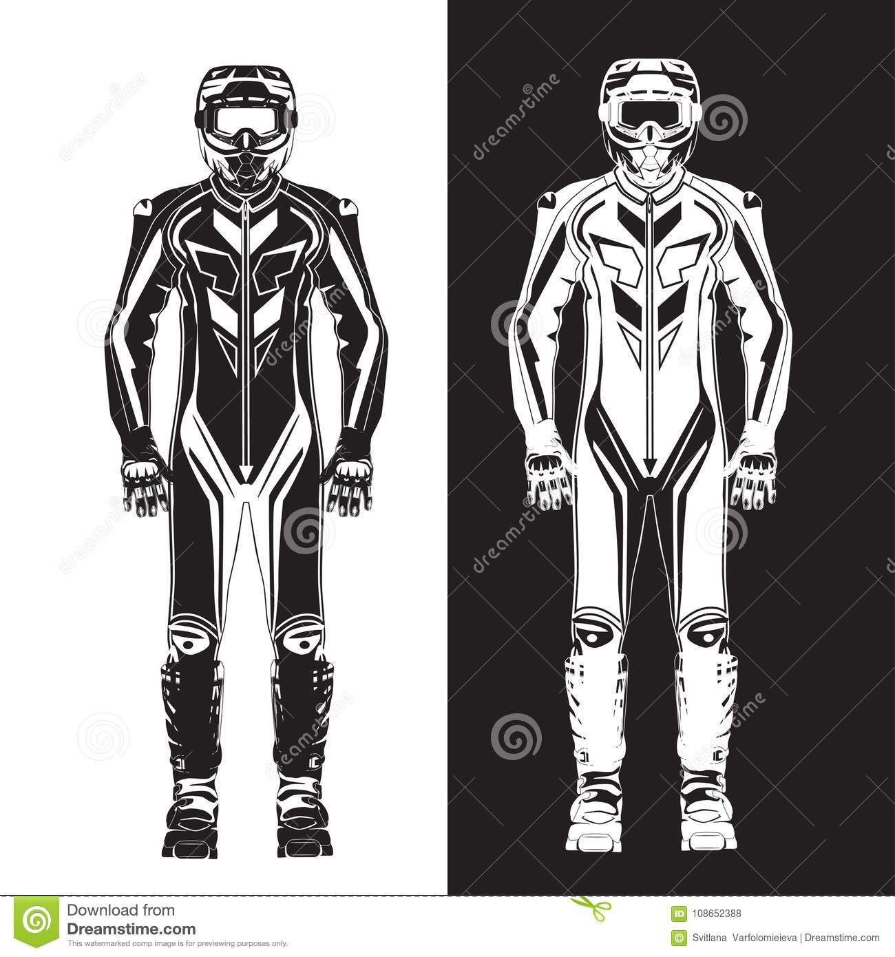 Motorcycle Suit Vector Flat Illustration Stock Vector Illustration