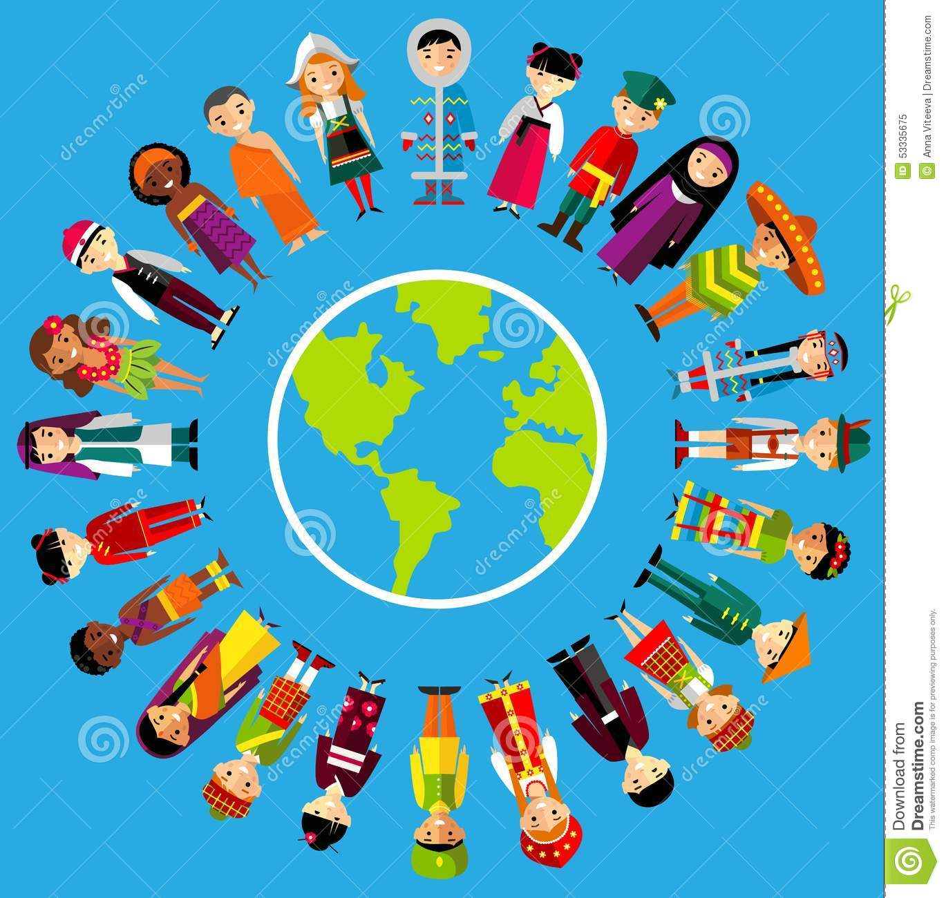 Multicultural: Vector Illustration Of Multicultural National Children