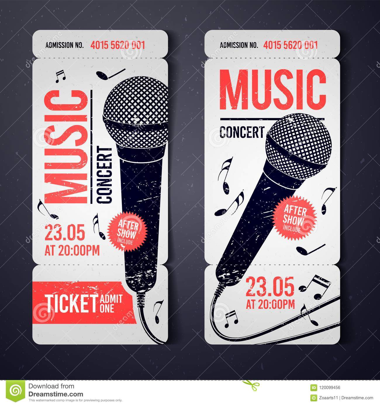 vector illustration music concert event ticket design template with
