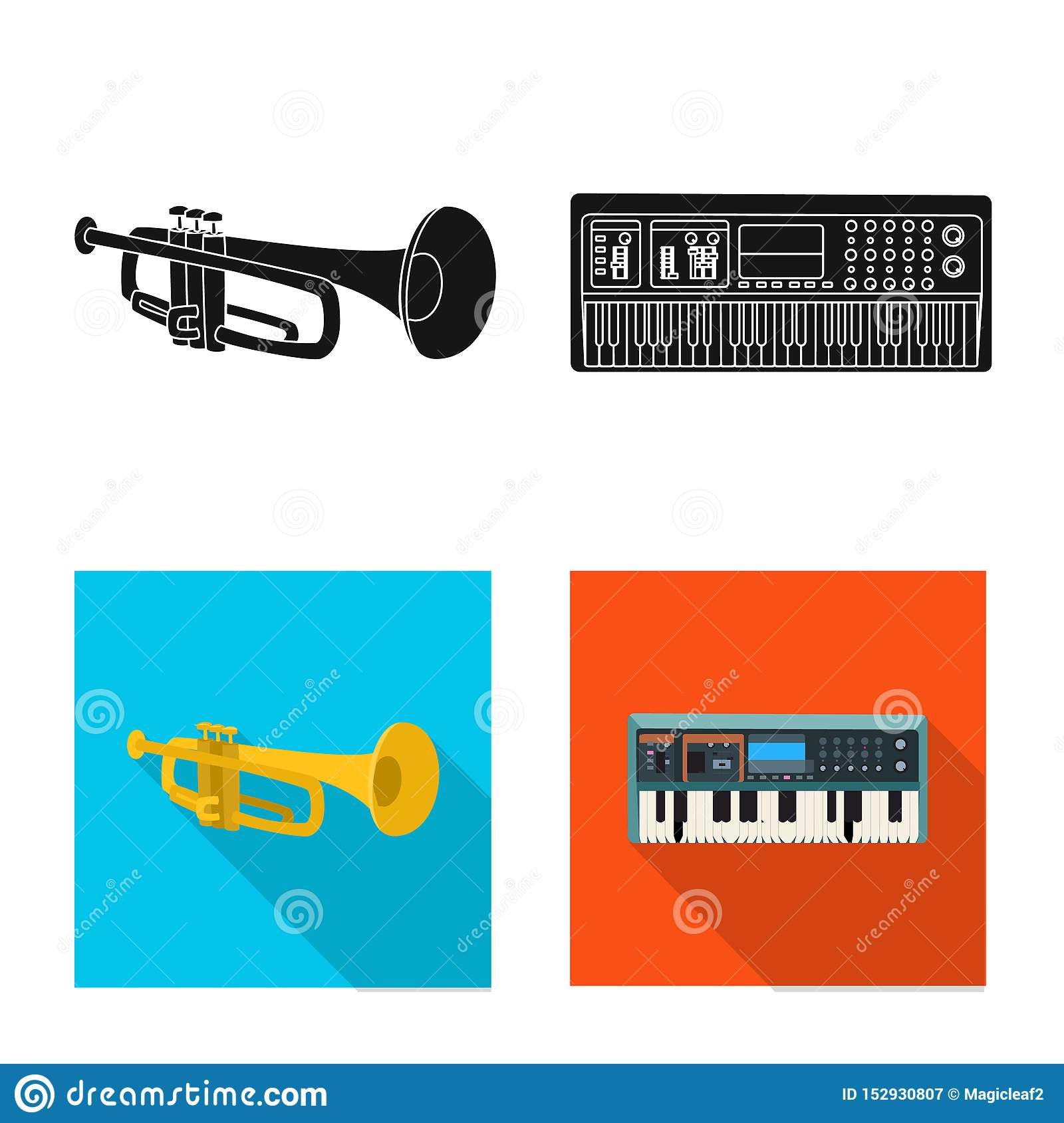 Vector illustration of music and tune logo. Set of music and tool vector icon for stock.