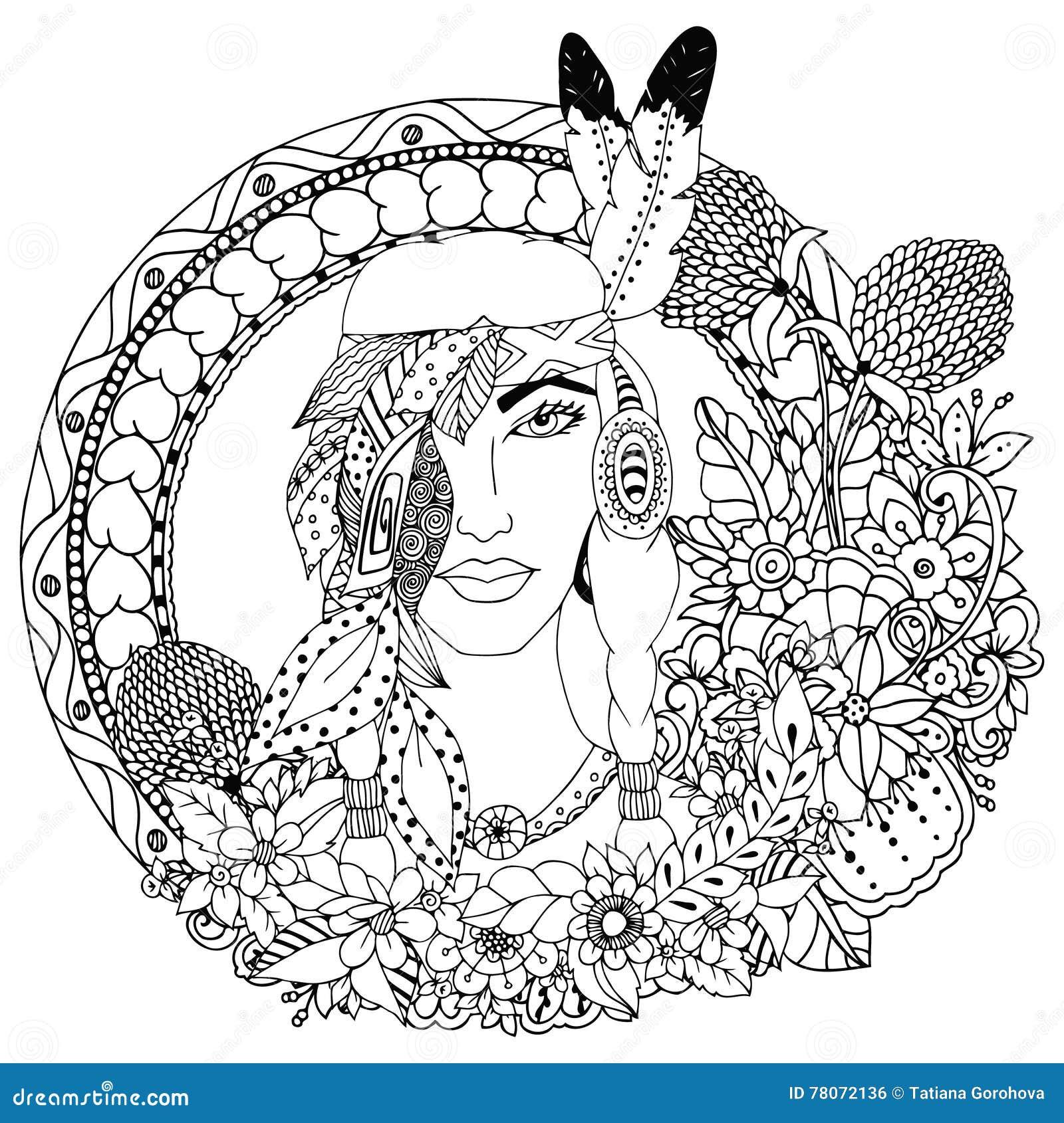 - Vector Illustration , Native American Girl In Round Frame. Doodle