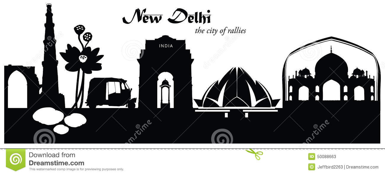 Vector illustration of New Delhi India skyline cityscape in black and ...