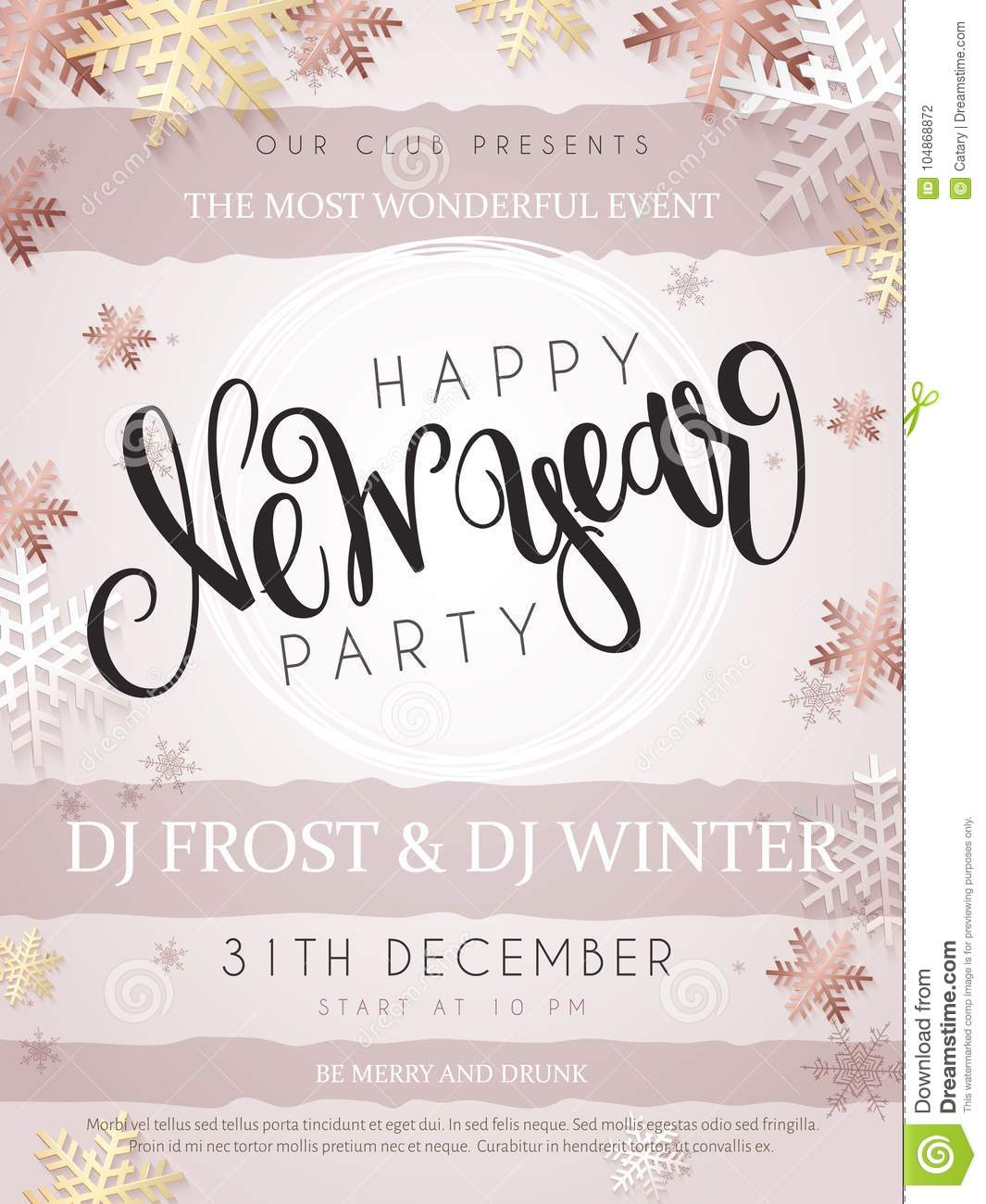 vector illustration of new year party poster with hand lettering label happy new year