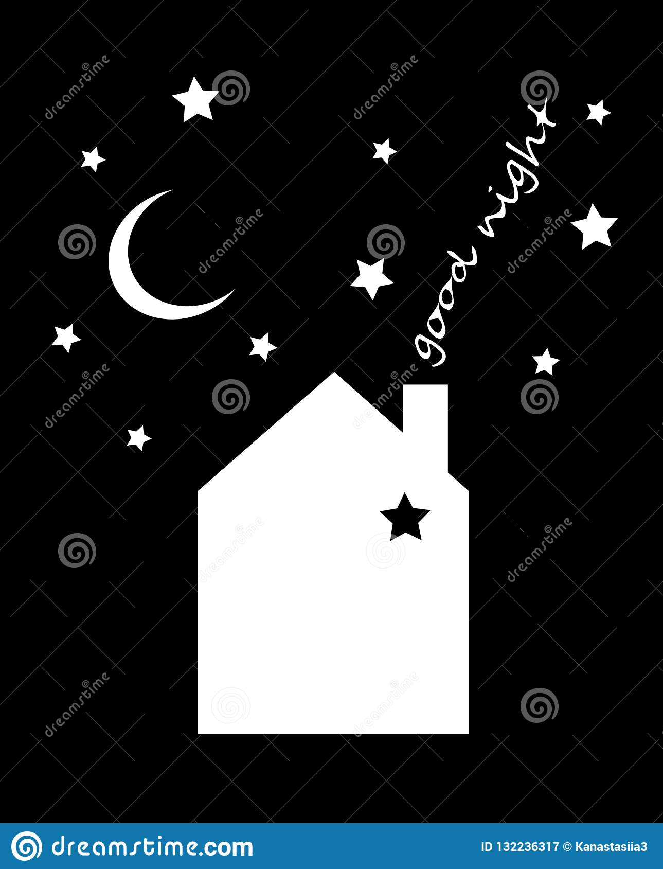 Vector illustration of night time nature landscape with house, sky, falling stars and inscription `Good night`.