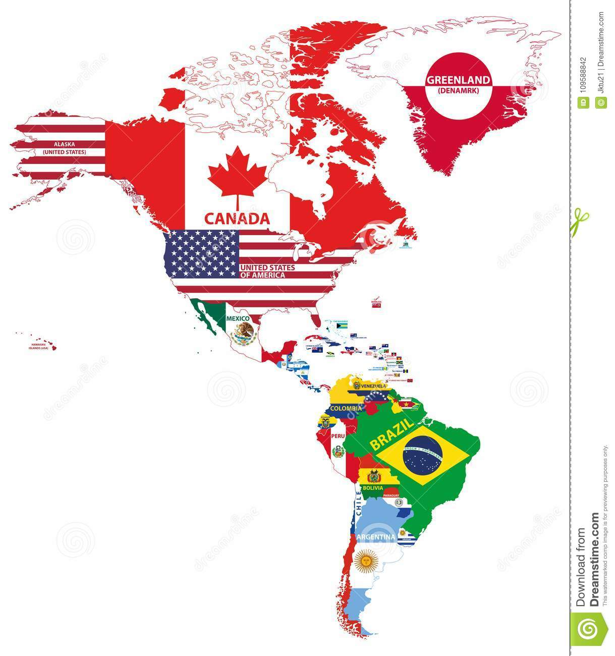 Vector Illustration Of North And South America Map With Country ...
