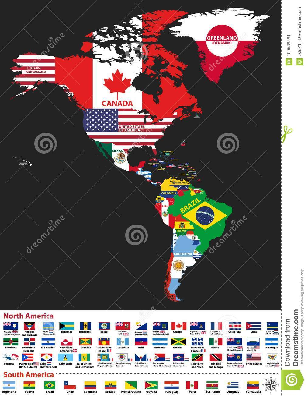 Vector illustration of north and south america map with country download vector illustration of north and south america map with country names and flags of countries gumiabroncs Gallery