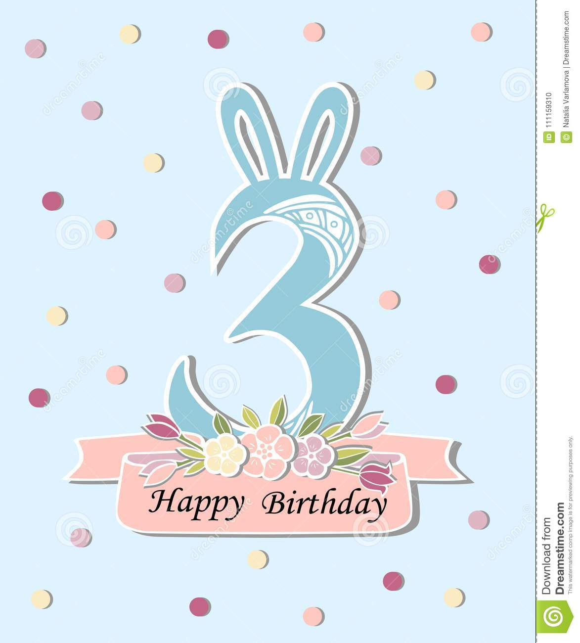 Vector Illustration With Number Three  Bunny Ears And