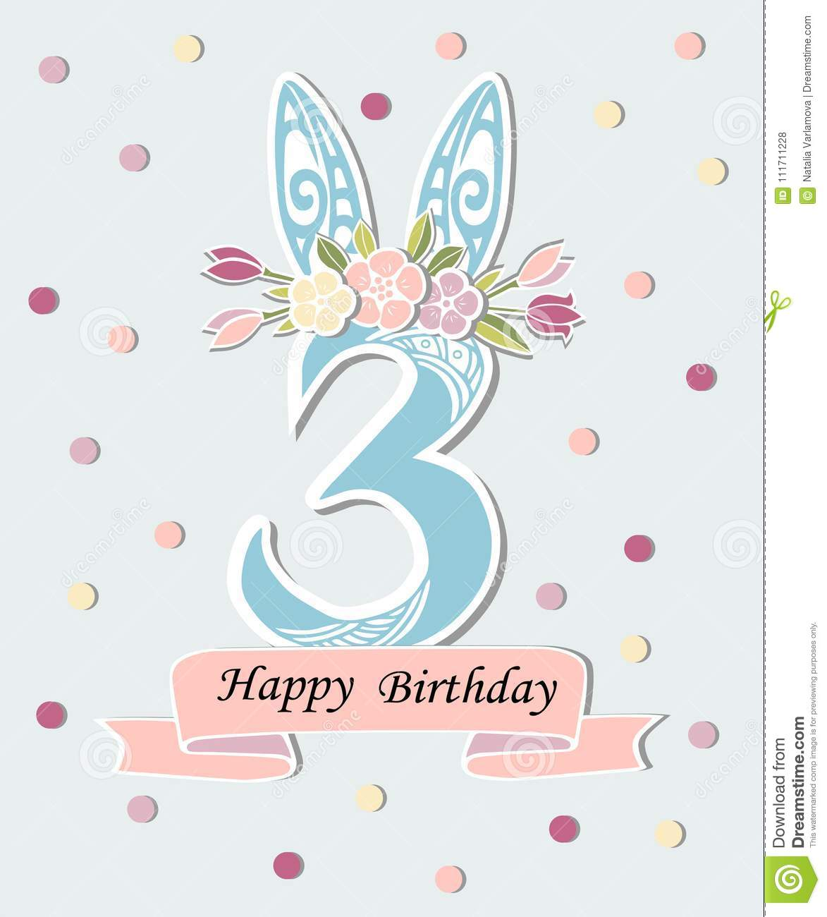 Vector illustration with number three bunny ears and floral wreath download comp maxwellsz