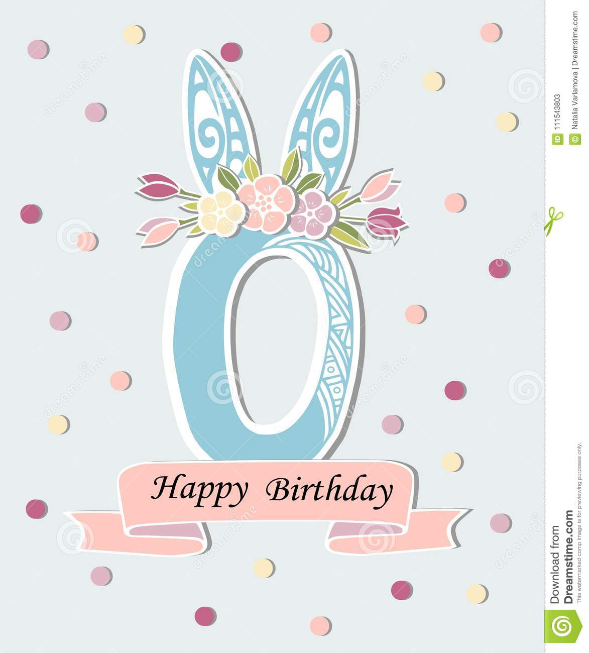 Vector Illustration With Number Zero Bunny Ears And Floral Wreath
