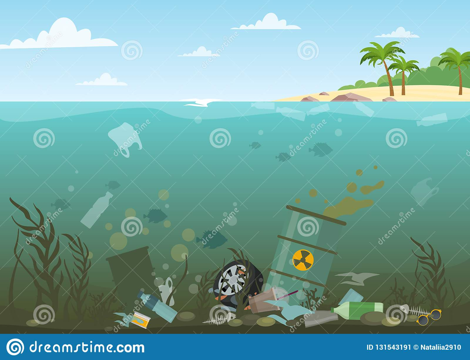 Vector illustration of ocean water full of dangerous waste at the bottom. Eco, water pollution concept. Garbage in the